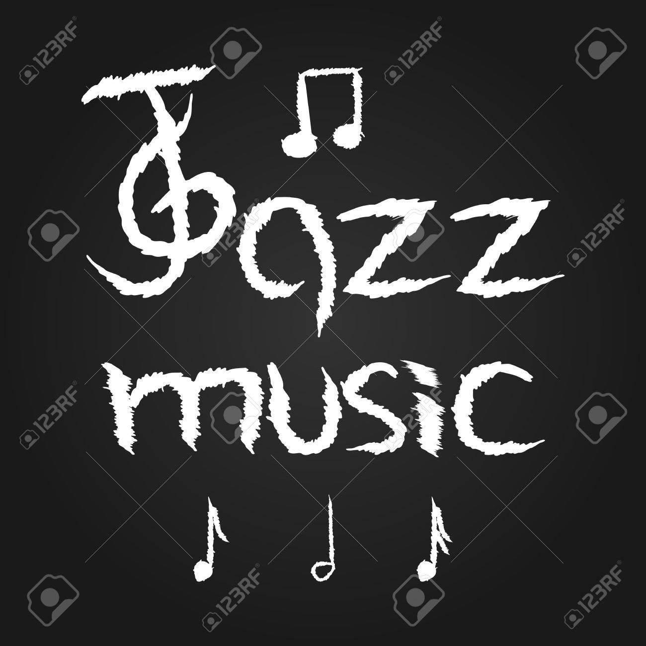 handwriting jazz music treble clef notes grunge brush scribble