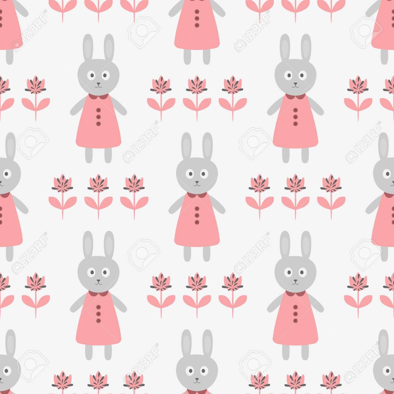 Conejo Divertido En Un Vestido Y Siluetas De Flores Abstractas ...