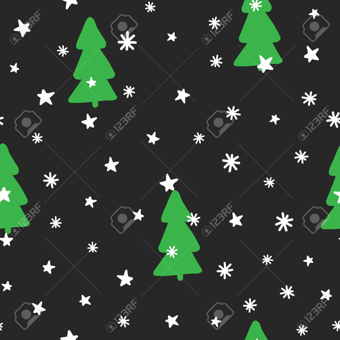 New Year Seamless Pattern Christmas Trees Snowflakes Stars