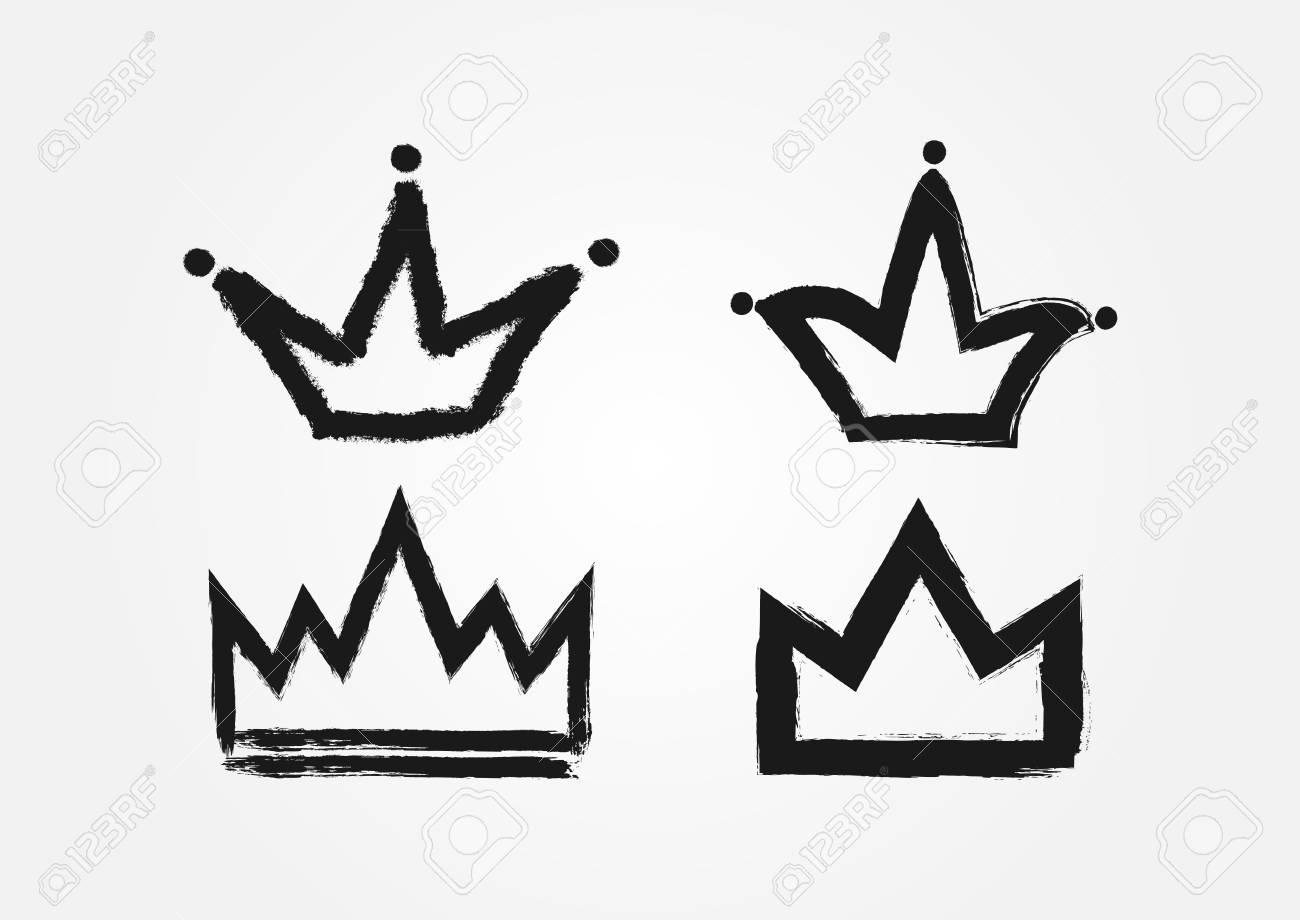 Set Of Crowns Drawn By Hand With A Rough Brush Grunge Sketch Graffiti