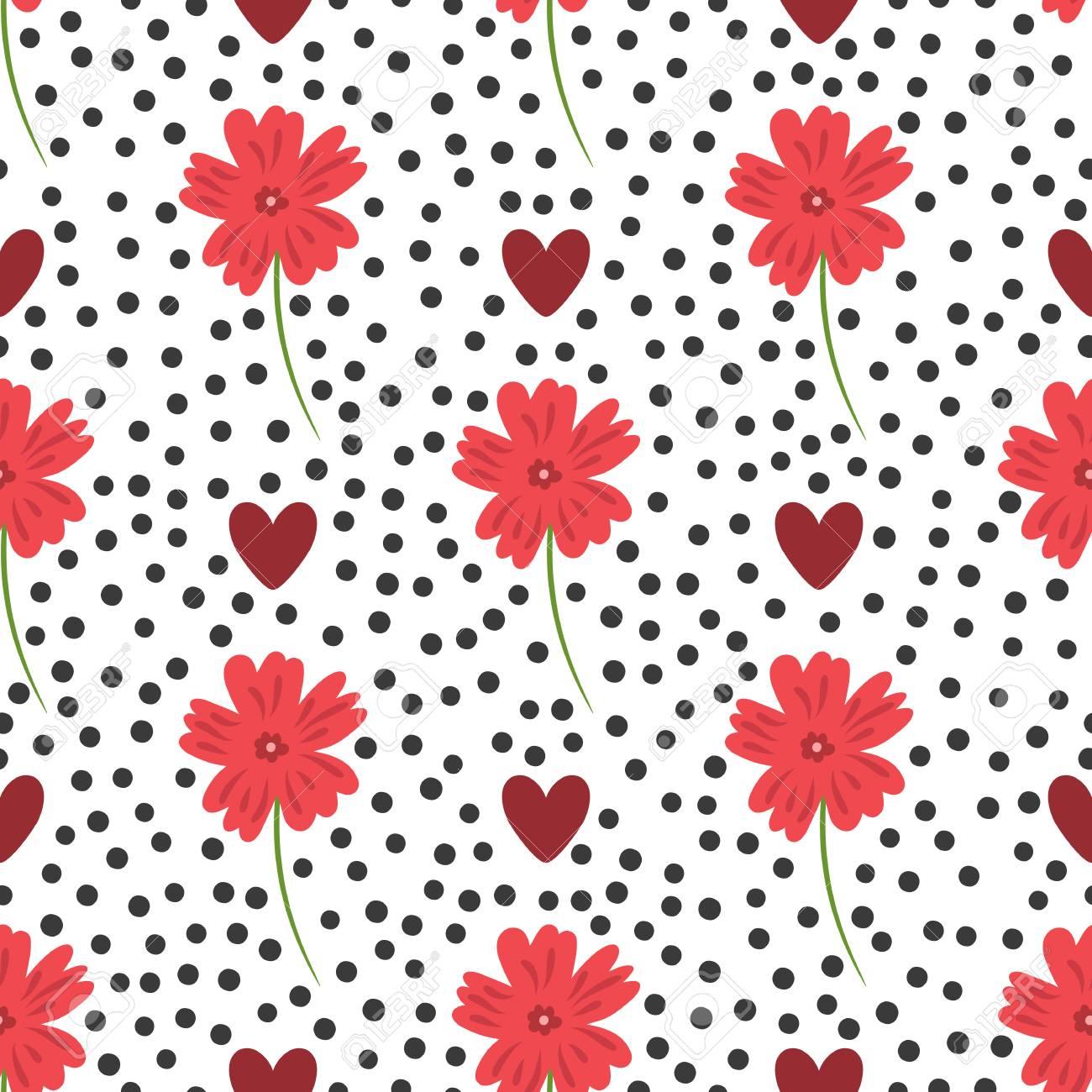 Flores, Corazones Y Puntos Redondos. Lindo Patrón Floral Sin Fisuras ...