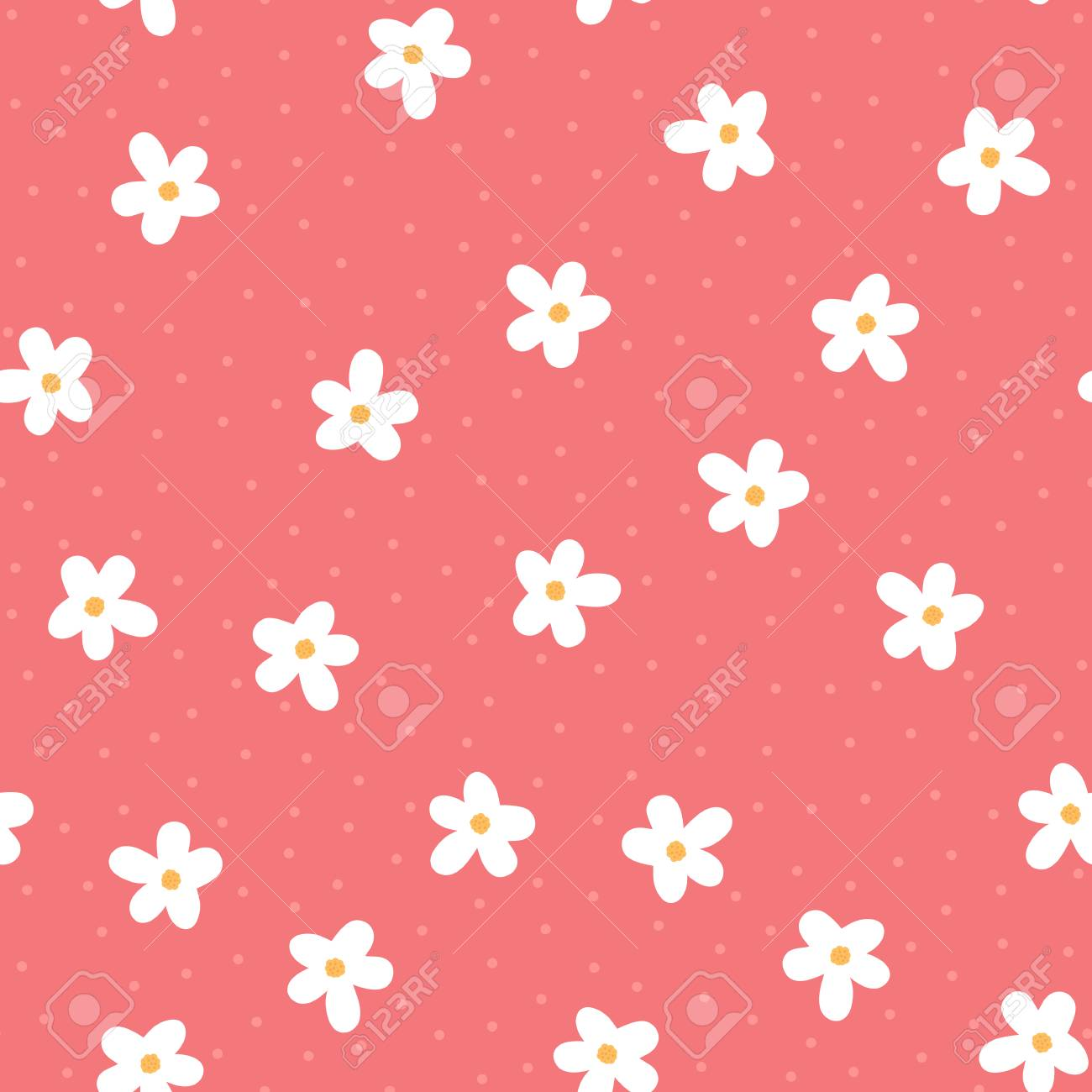 girly floral seamless pattern endless vector illustration stock