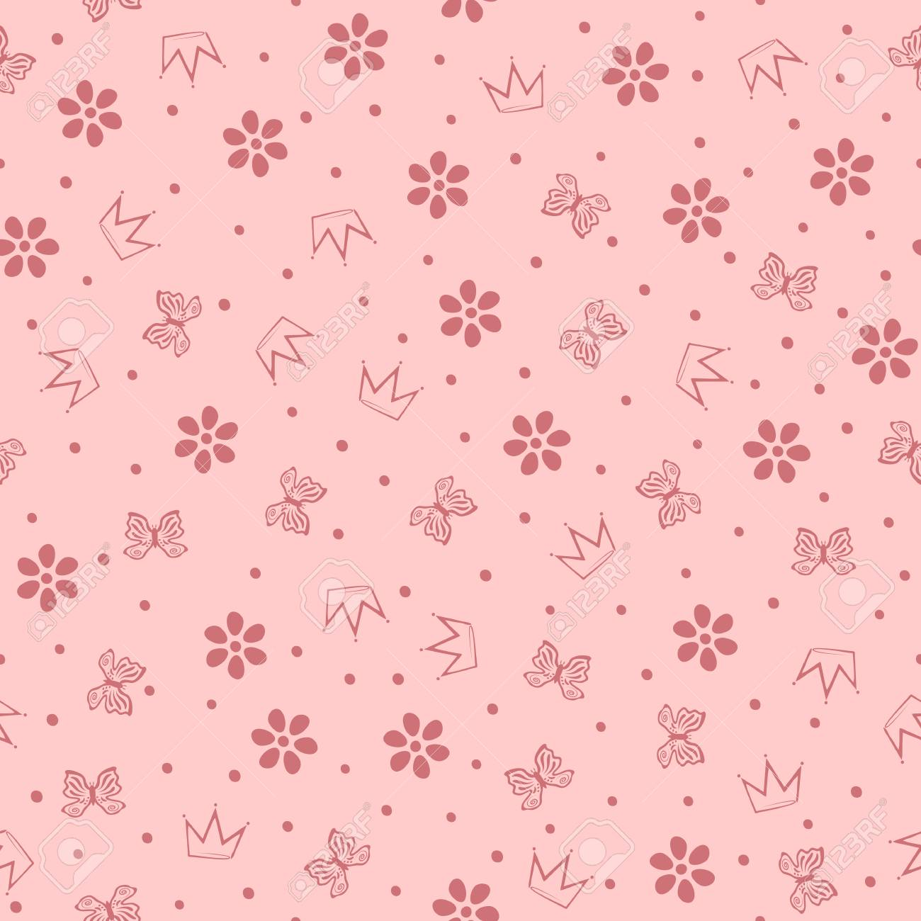 Flowers Butterflies Crowns And Small Round Dots Cute Girly Seamless Pattern Vector