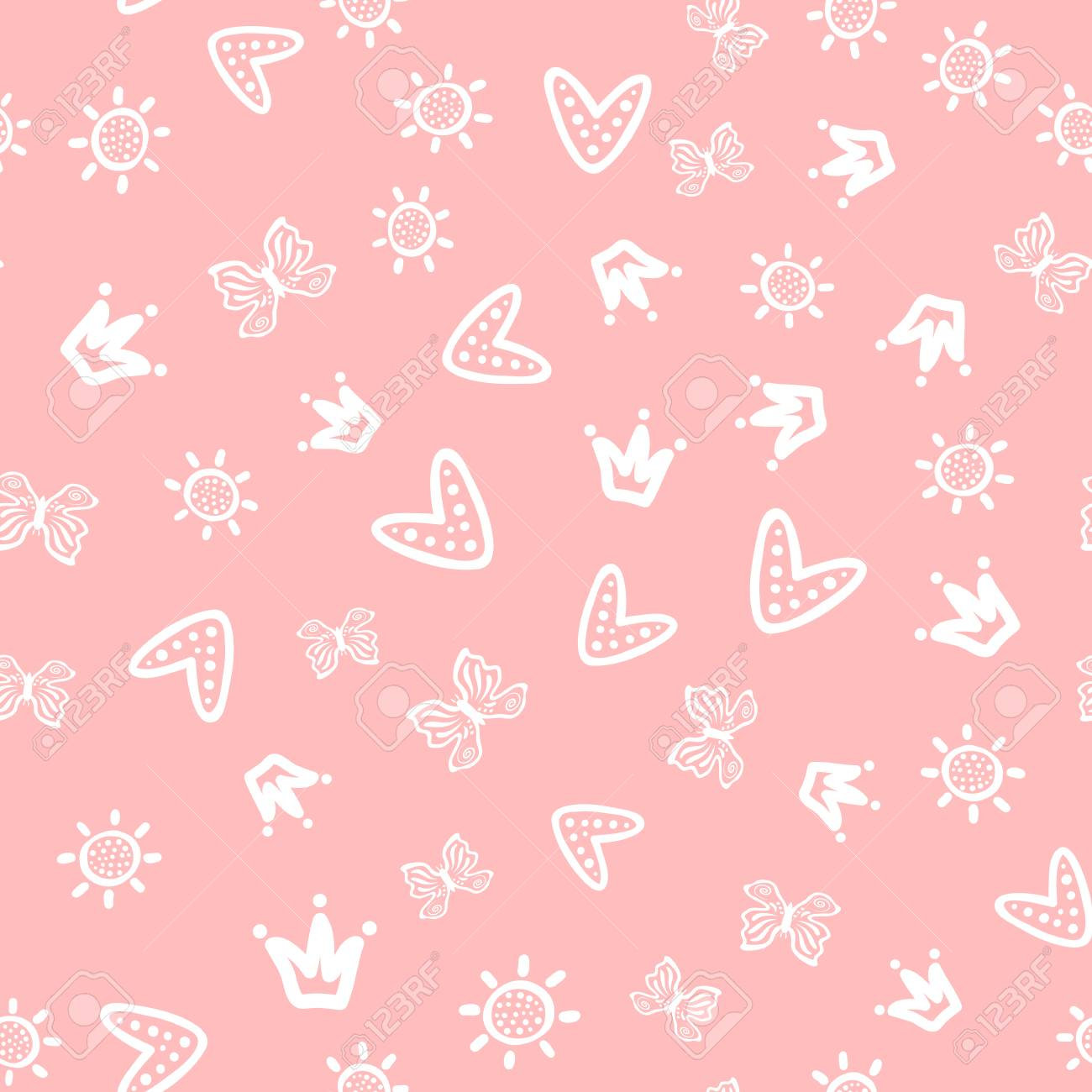 Sun Butterflies Hearts And Crowns Drawn By Hand Cute Girly Seamless Pattern