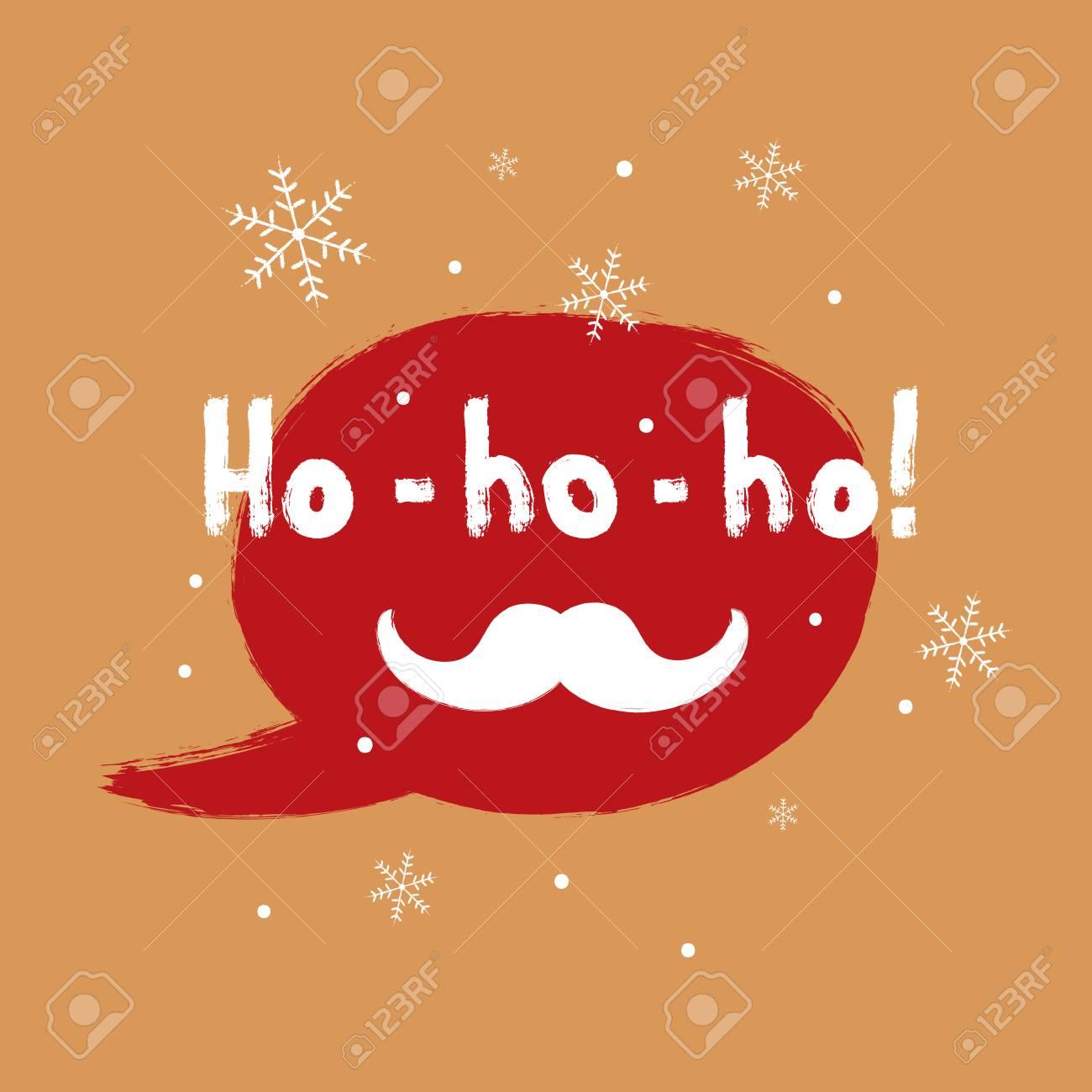 Square Christmas Card. Speech Bubble, Snowflakes, Santa Claus ...