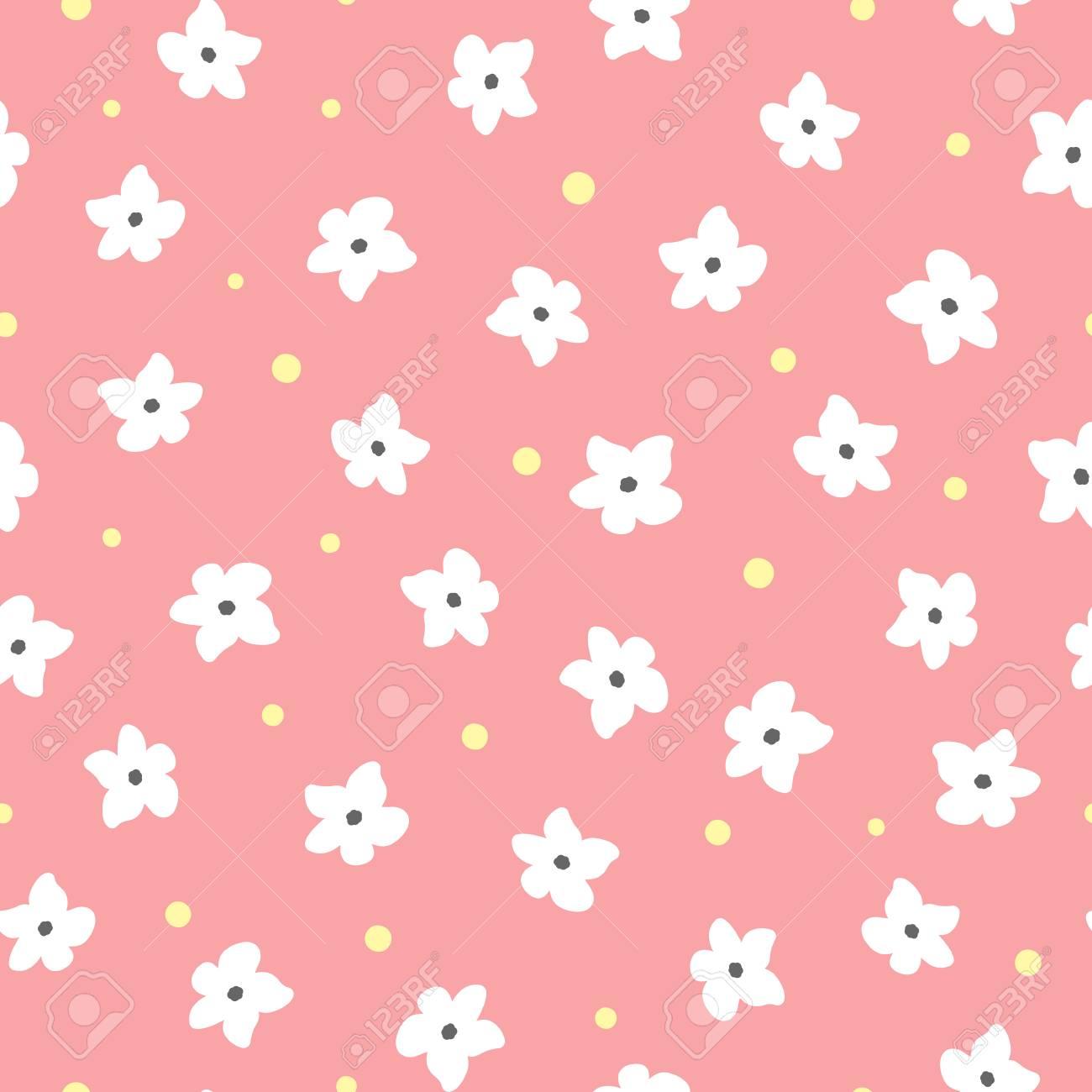 Flores Blancas Y Puntos Amarillos Sobre Fondo Rosa Patron Floral
