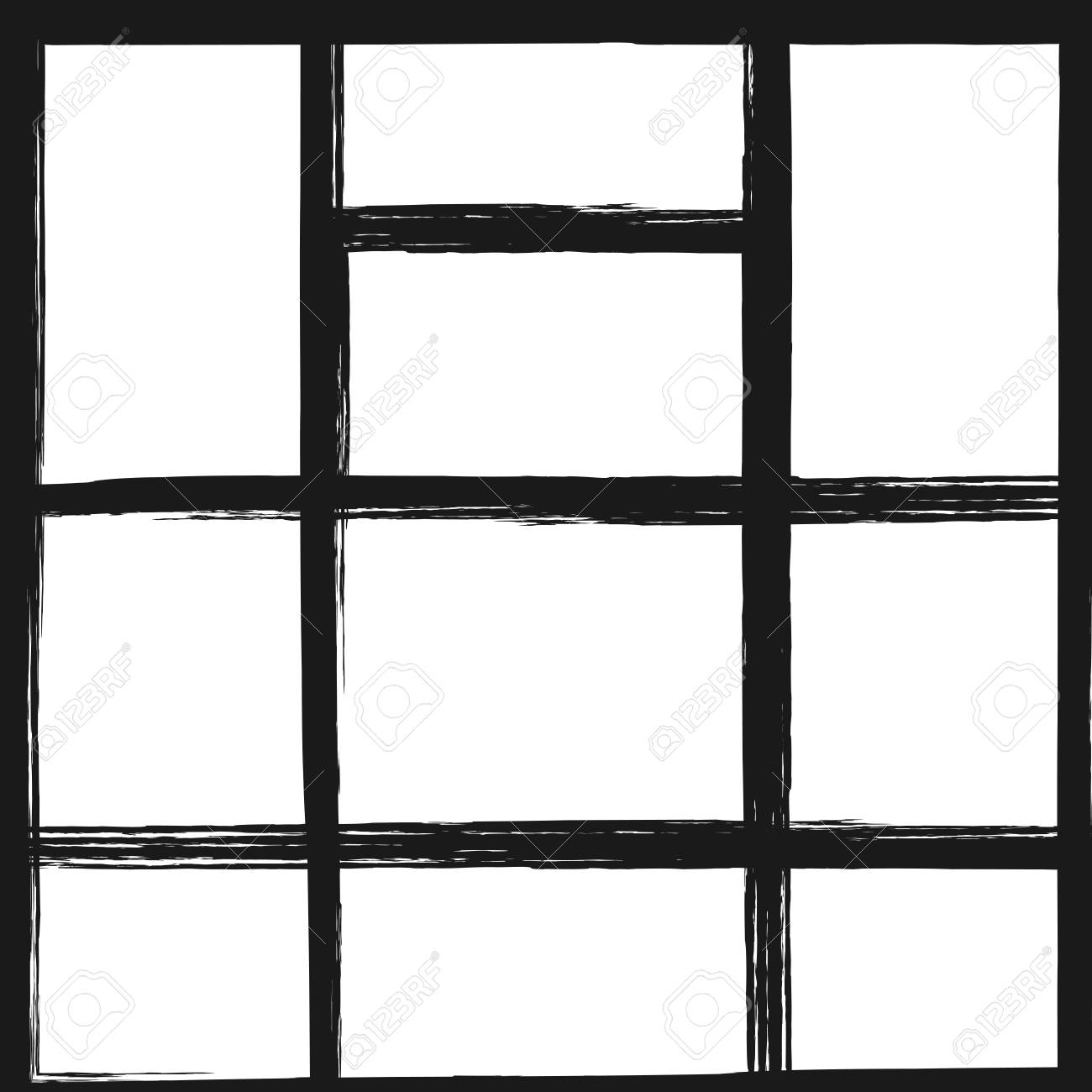 Template For Photo Collage Square Background With Rectangular