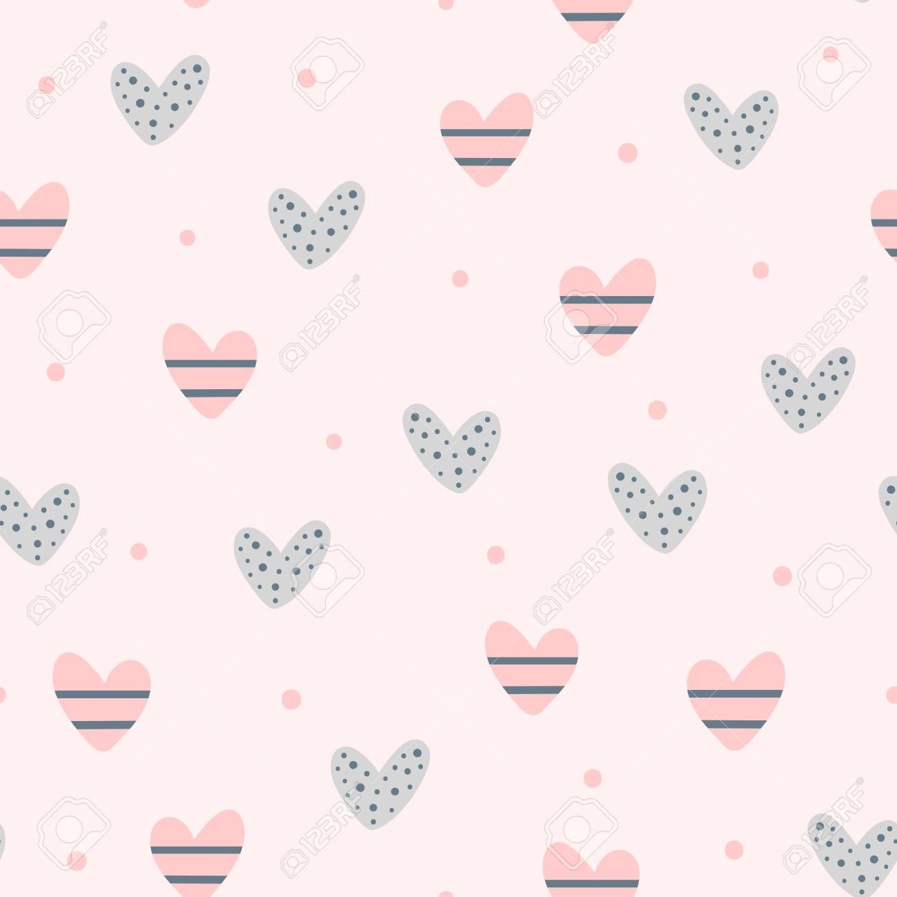 Repeating cute hearts and round dots. Romantic seamless pattern. Endless lovely print. Vector illustration. - 102095226