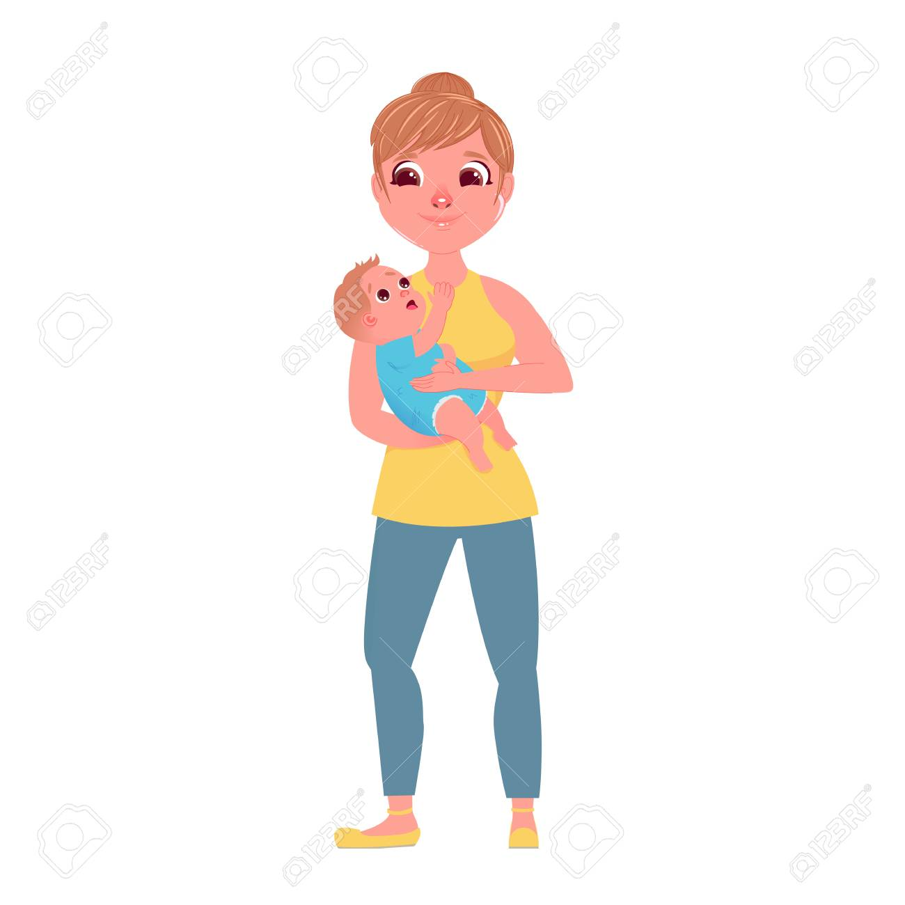 The Mother S Character With A Small Child In Hugs Love From Royalty Free Cliparts Vectors And Stock Illustration Image 105397167