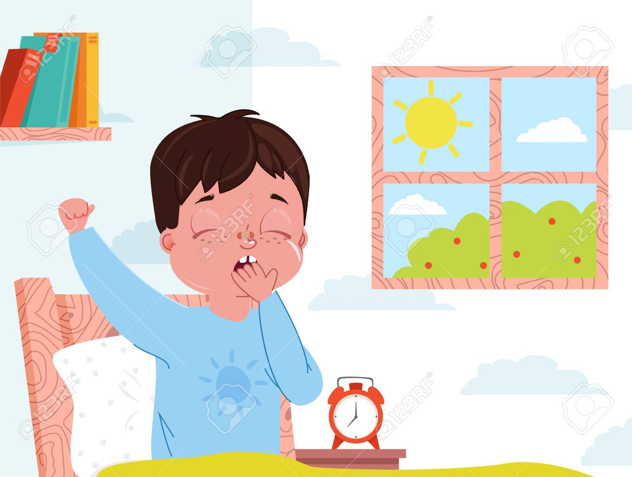 Little Child Boy Wake Up In The Morning Kid Bedroom Interior