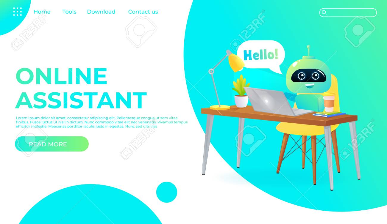 Online assistant bot landing page template  Technical support