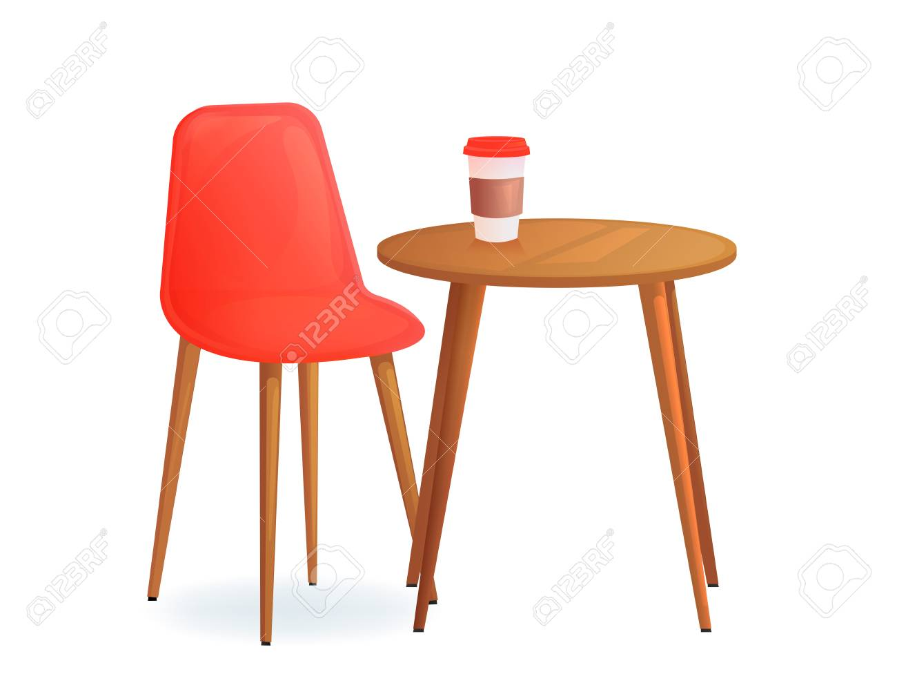 Chair with and drink cup on wood table cafe for meet and talk modern