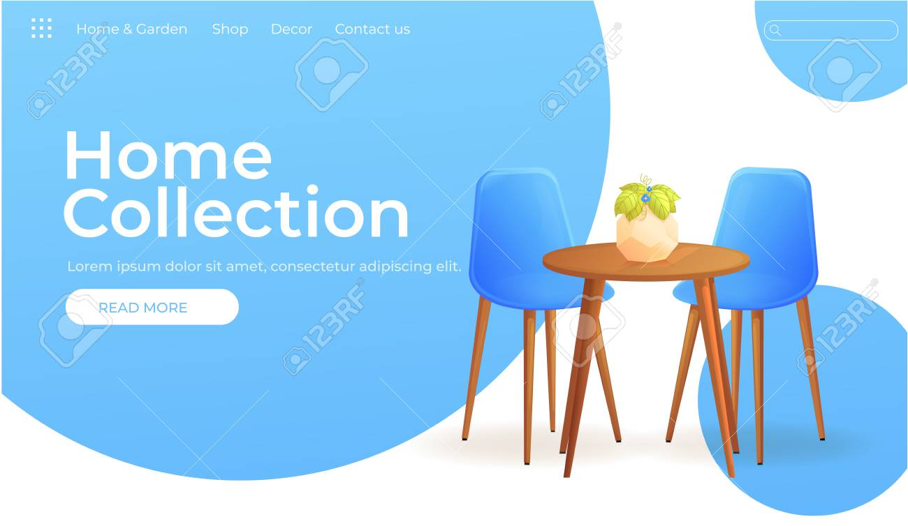 Furniture store for home design banner. Modern interior with..