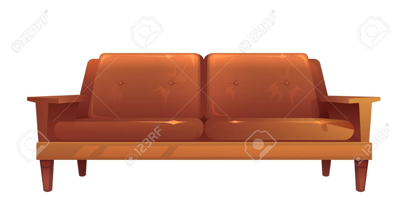 Old Leather Brown Sofa Isolated Vintage Style Couch Cartoon