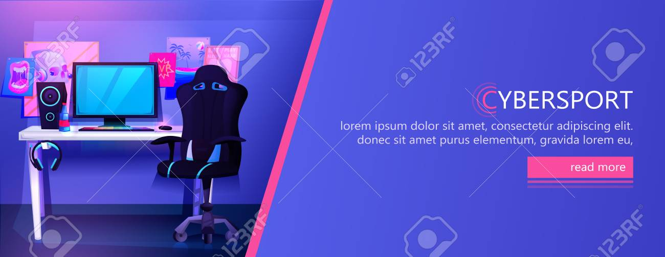 ESports interior banner. Workplace cyber sportsman gamer. A desk with a computer and headphones and a mouse with light and a gamers chair - 119128004