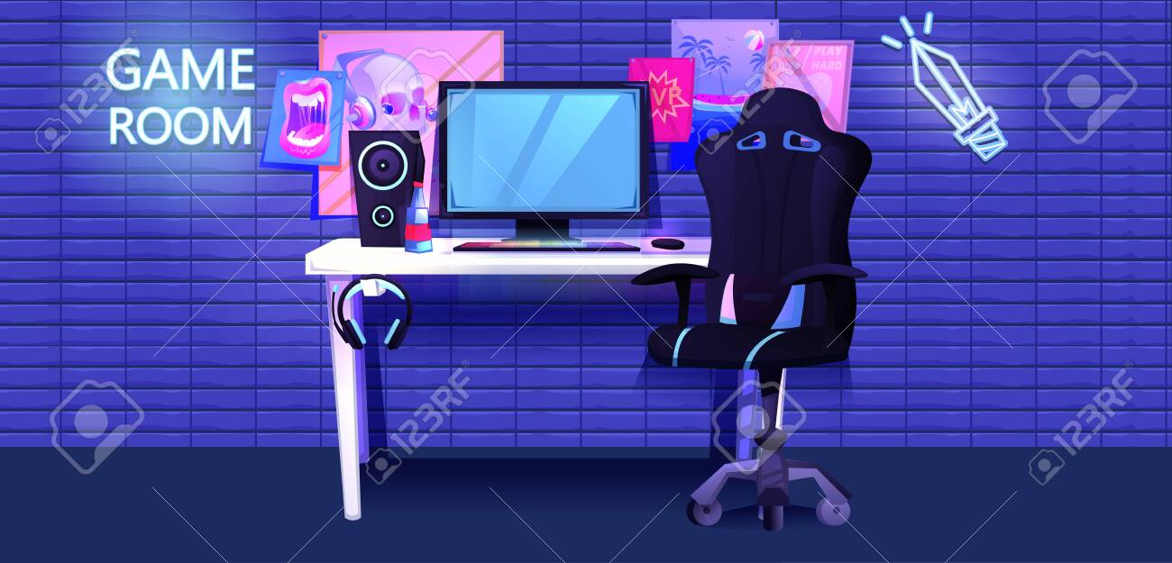 ESports interior banner. Workplace cyber sportsman gamer. A desk with a computer and headphones and a mouse with light and a gamers chair - 124281841