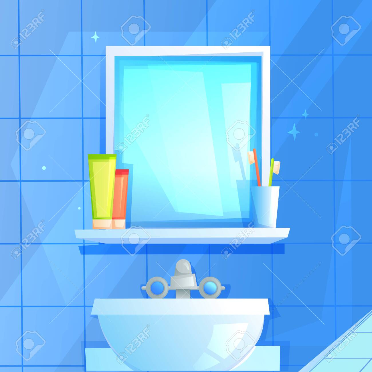 Mirror with a shelf on which a glass, toothpaste and brush. On the background of blue tiles. - 123825191