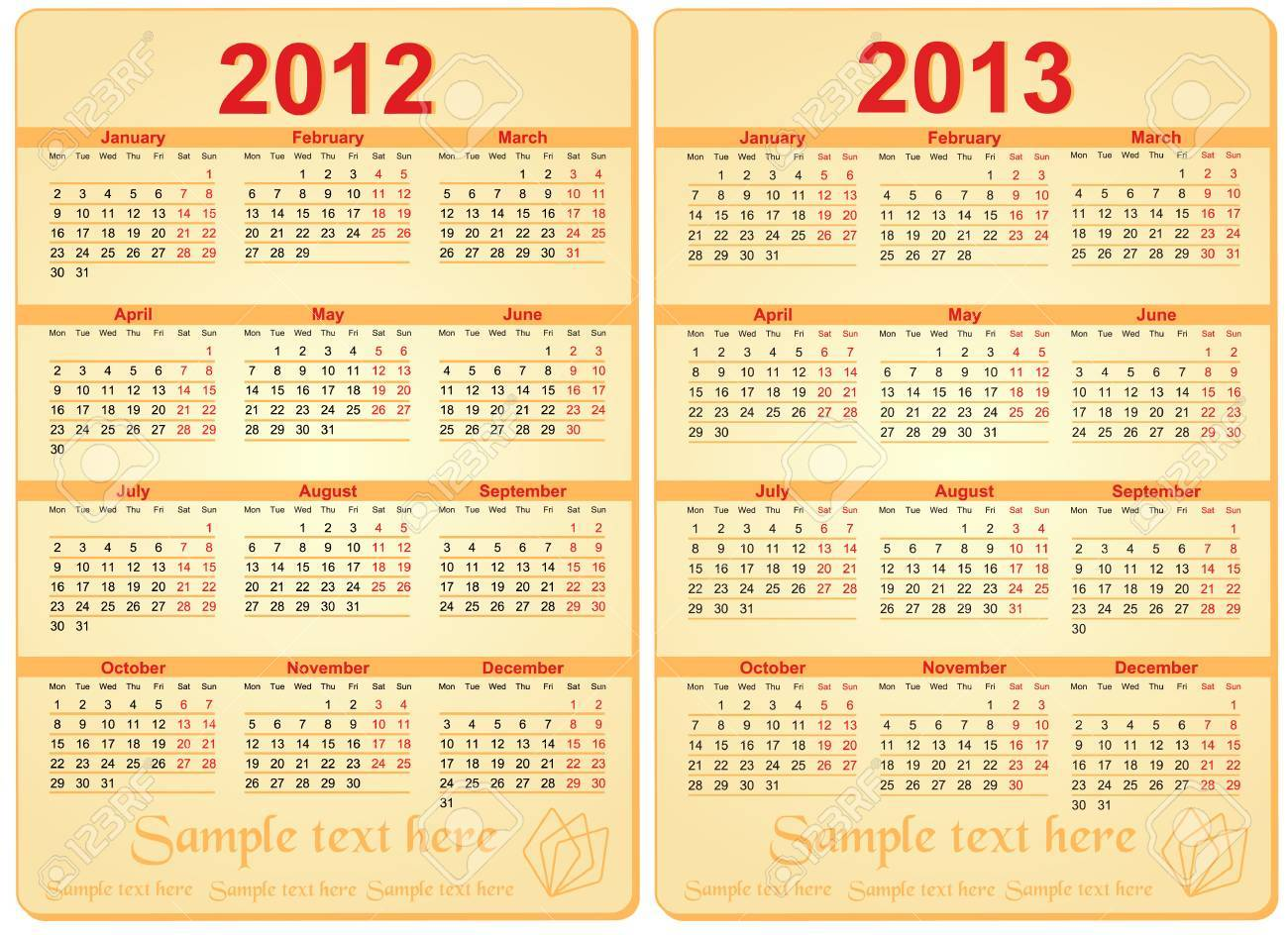 Set of 2012 and 2013 Calendar Stock Vector - 10277938