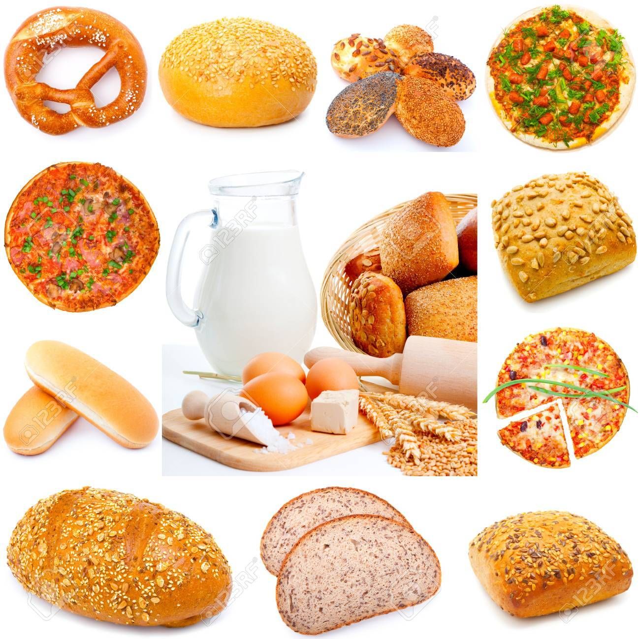 Assortment of different types of bread isolated on white background, Stock Photo - 10424857