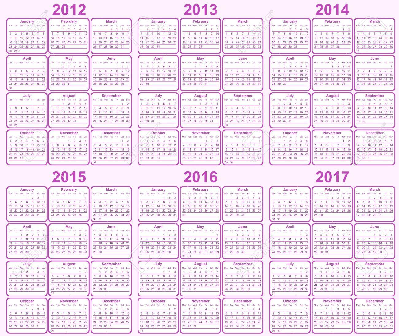 Calendar 2013, 2014, 2015, 2016, 2017 Royalty Free Cliparts ...