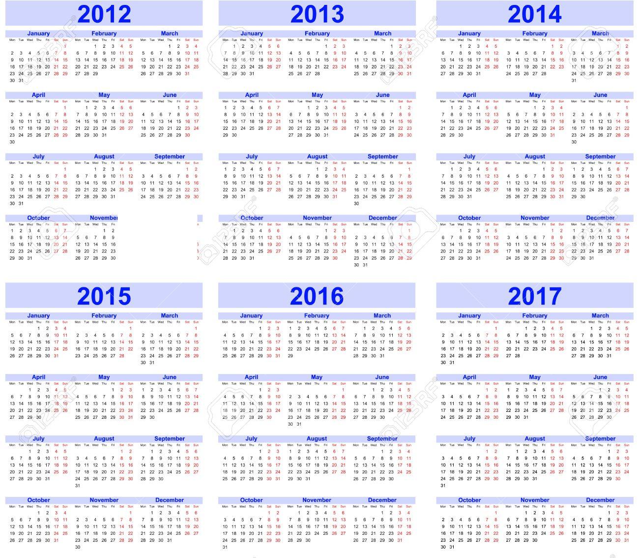 Calendar 2012, 2013, 2014, 2015, 2016, 2017 Royalty Free Cliparts ...