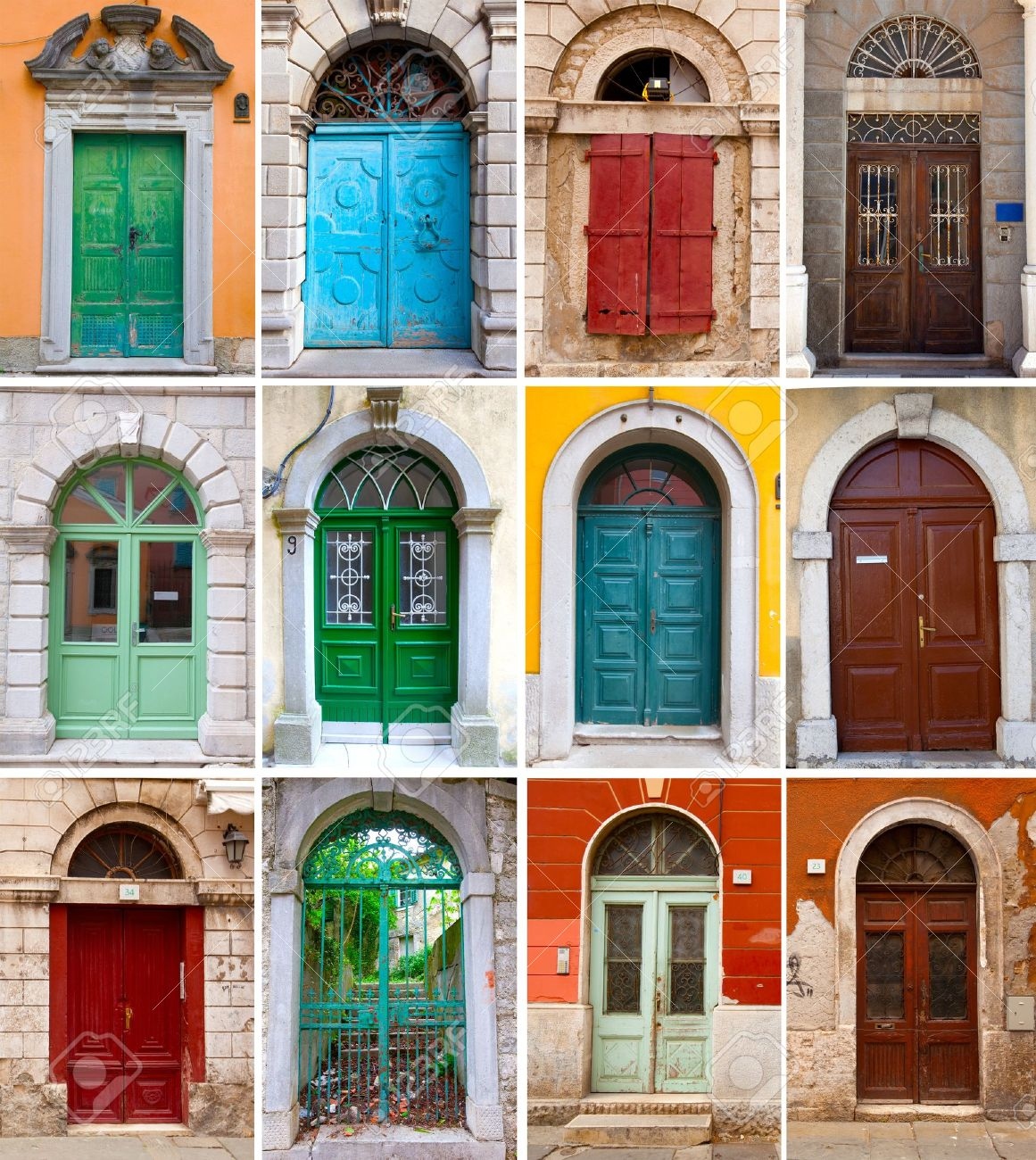 A photo collage of colourful front doors to houses and homes Stock Photo - 14055707