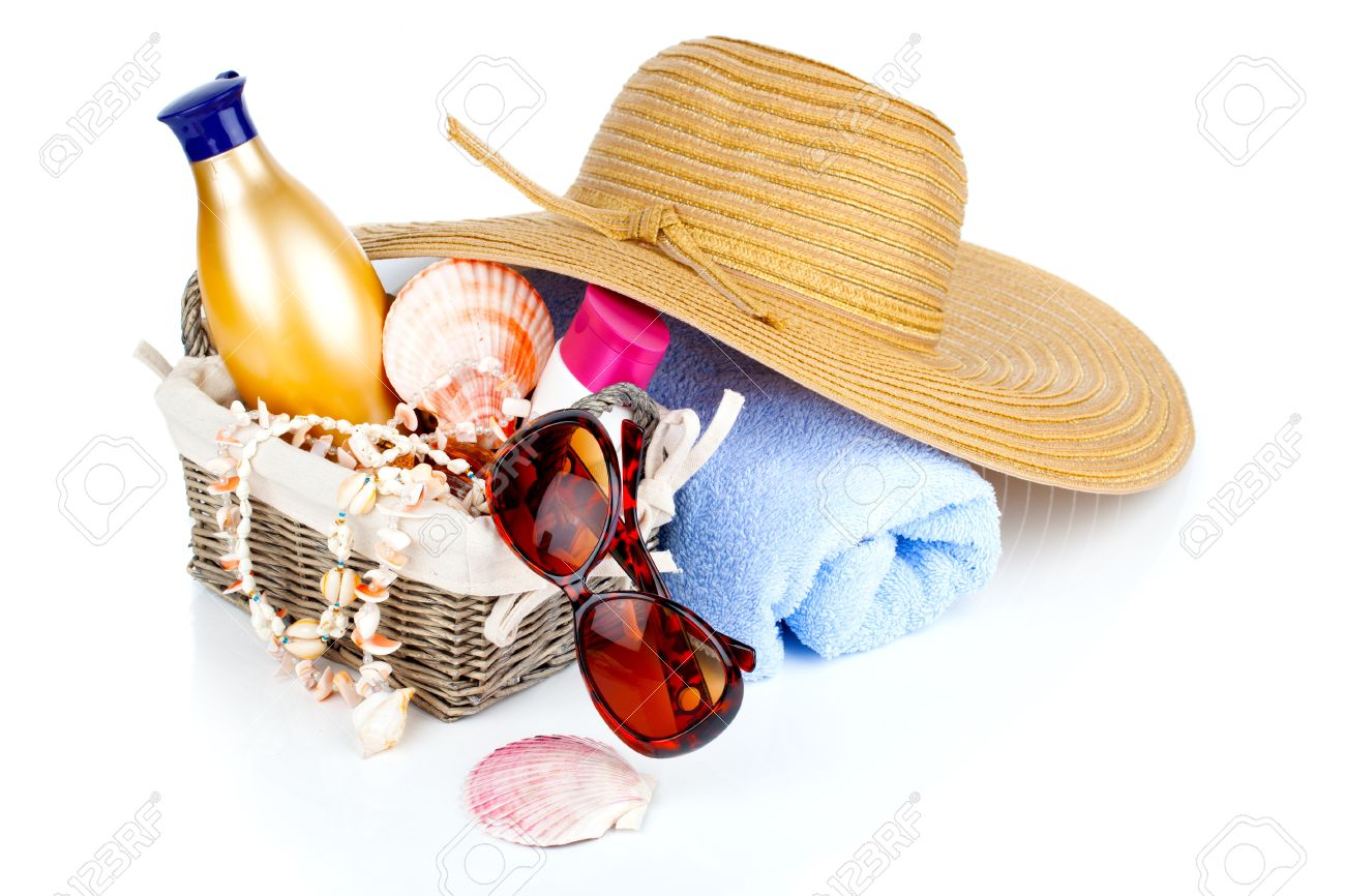1a2a4a6efa59 Stock Photo - women's accessories for outdoor relaxation. beach items  isolated on white background, summertime vacation and travel