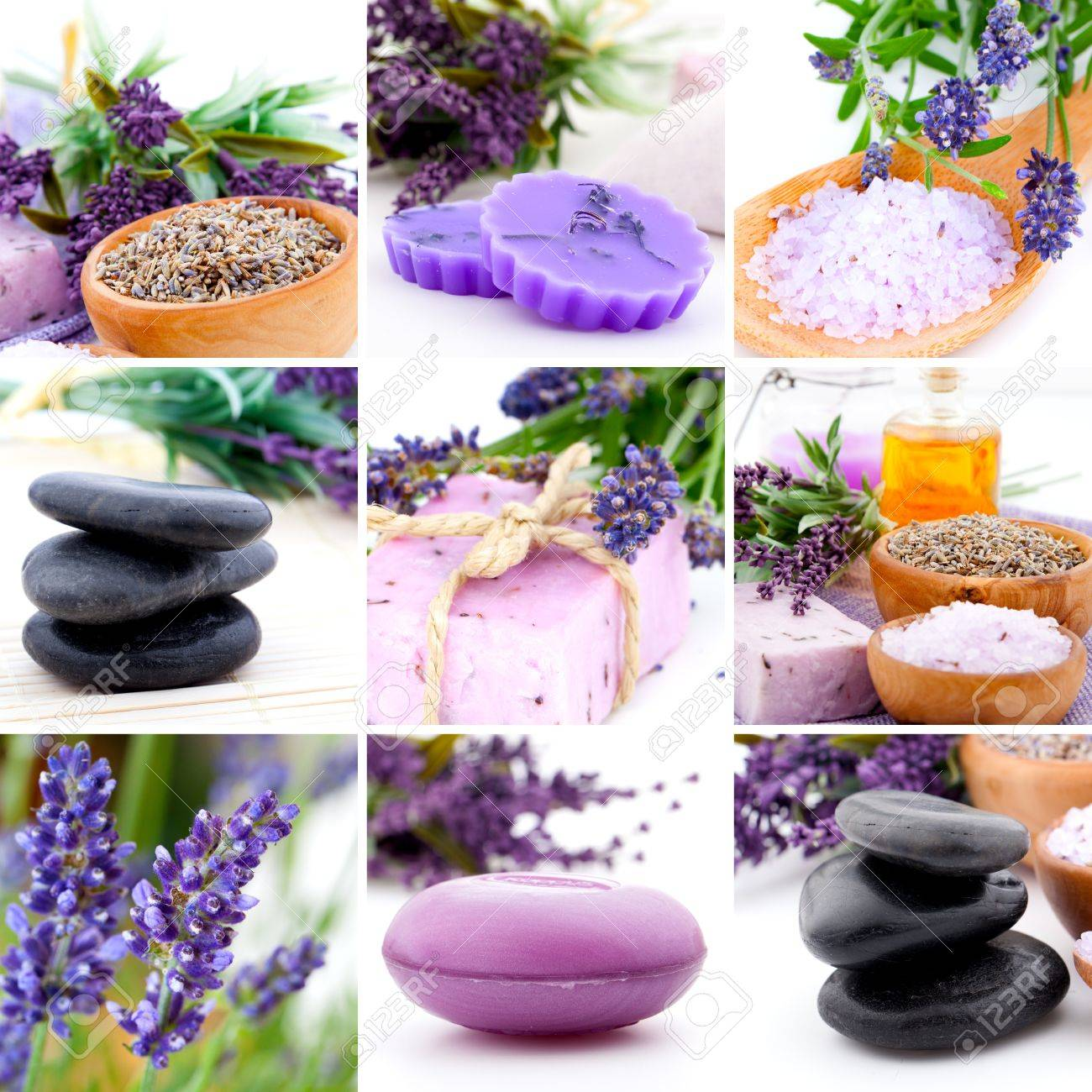Lavender collage with nine photos, Spa stones Stock Photo - 20439470