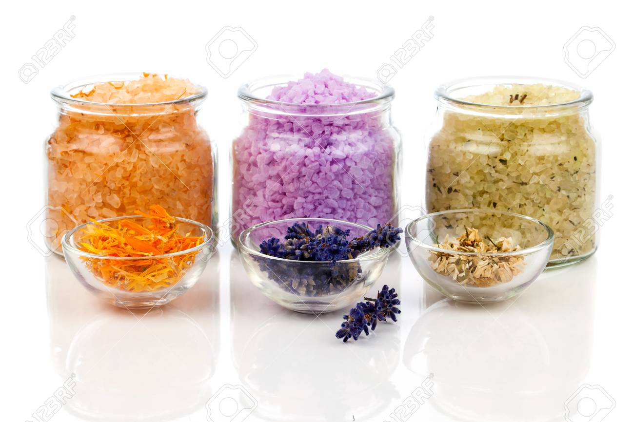 various kinds of bath salt with flowers, isolated on white background - 35326253
