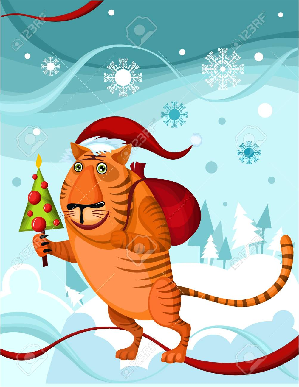 christmas tiger Stock Vector - 5770679