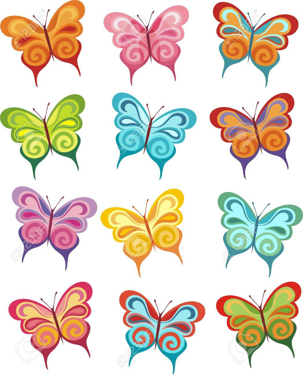 butterfly set royalty free cliparts vectors and stock