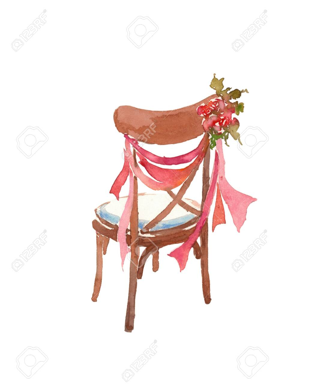 Picture of: Wooden Chair Decorated With Roses Ribbons Wedding Decor Stock Photo Picture And Royalty Free Image Image 154758765