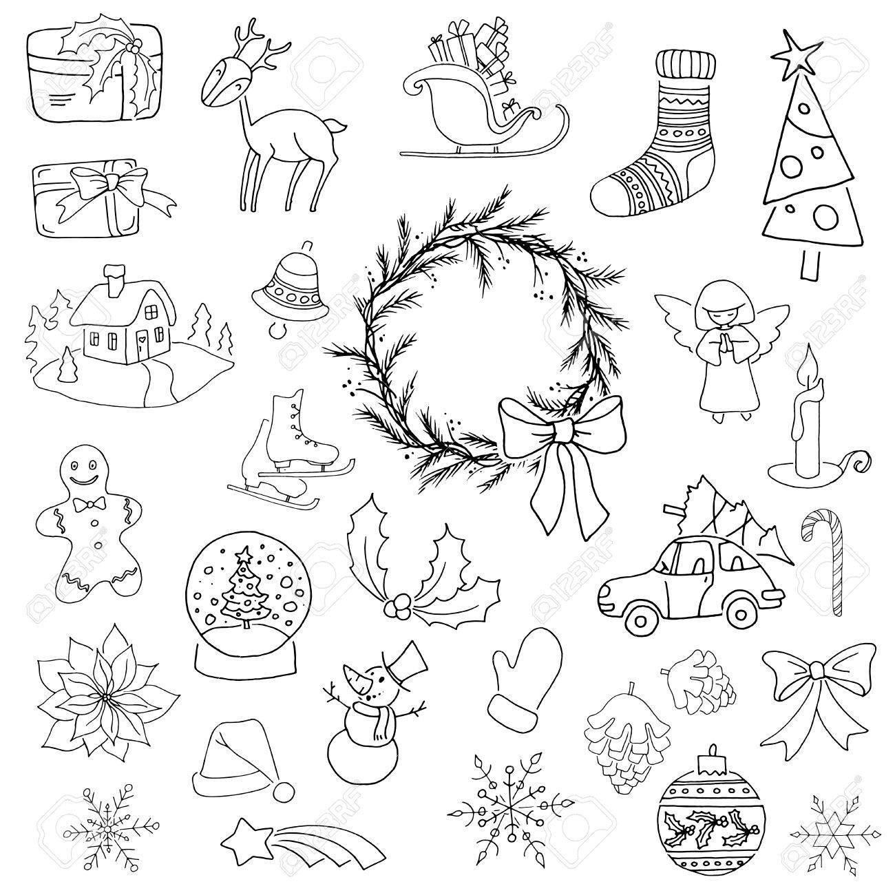 Elementos De Navidad Blanco Y Negro Con Caja De Regalo árbol De Navidad Ciervos Muñeco De Nieve Galleta De Jengibre Vela Campana Flor De Nochebuena Trineo Corona Y Otros 25 Elementos Se