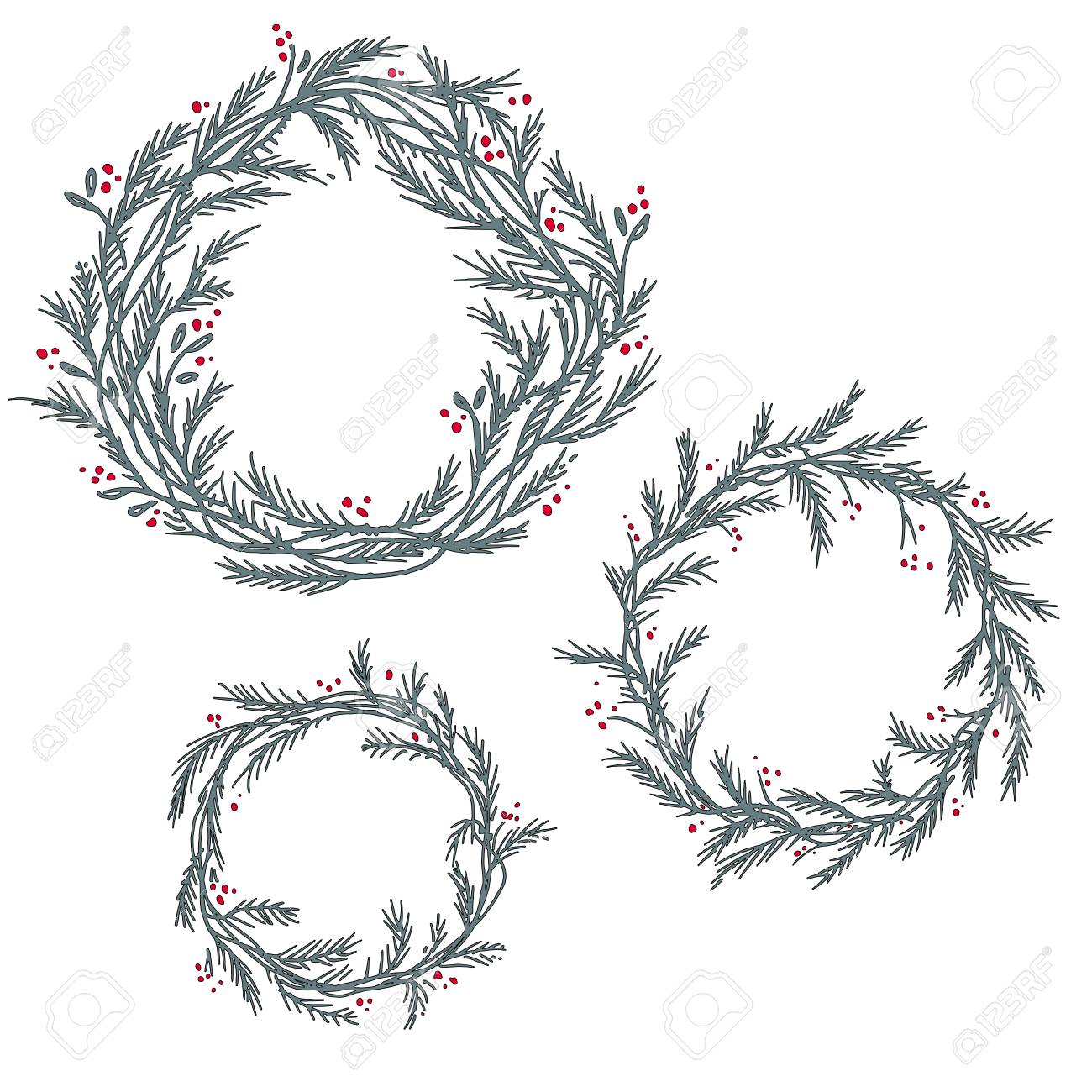 Christmas Wreath Silhouette.Set Of Silhouette Of Christmas Wreath Hand Drawn Branches And