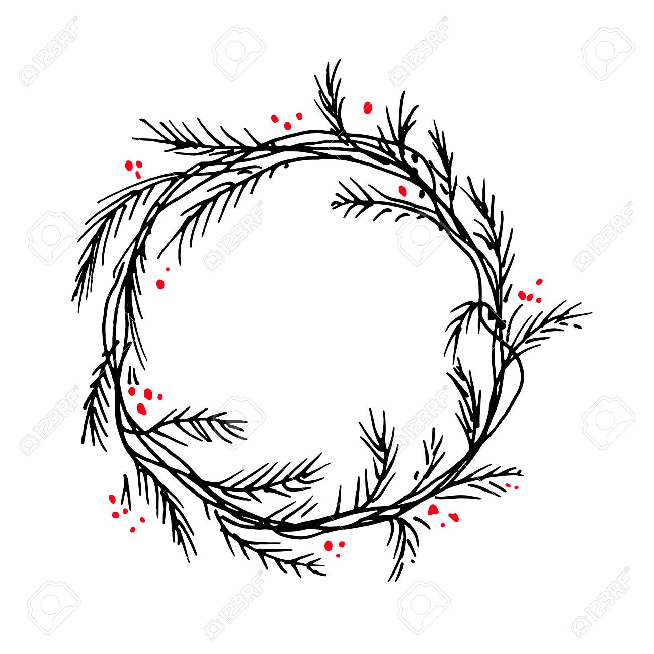 Christmas Wreath Silhouette Vector.Vector Silhouette Of Christmas Wreath Hand Drawn Branches And