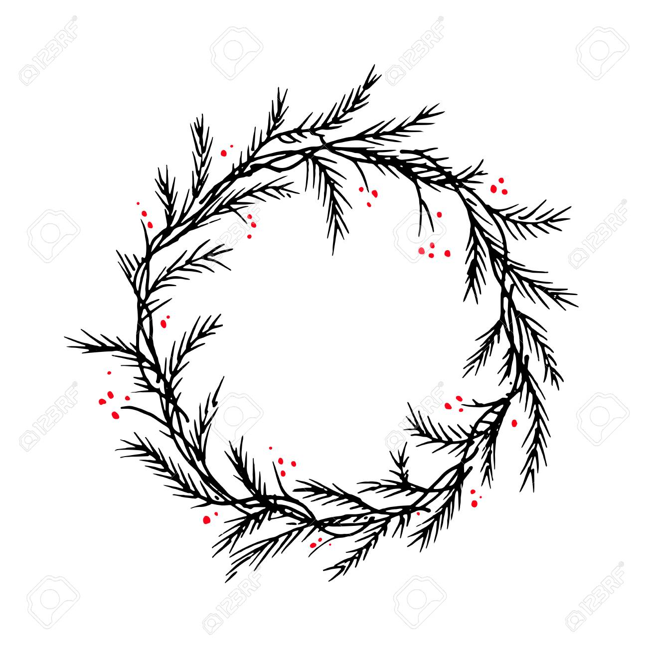 Christmas Wreath Silhouette.Vector Silhouette Christmas Wreath Frame Or Border