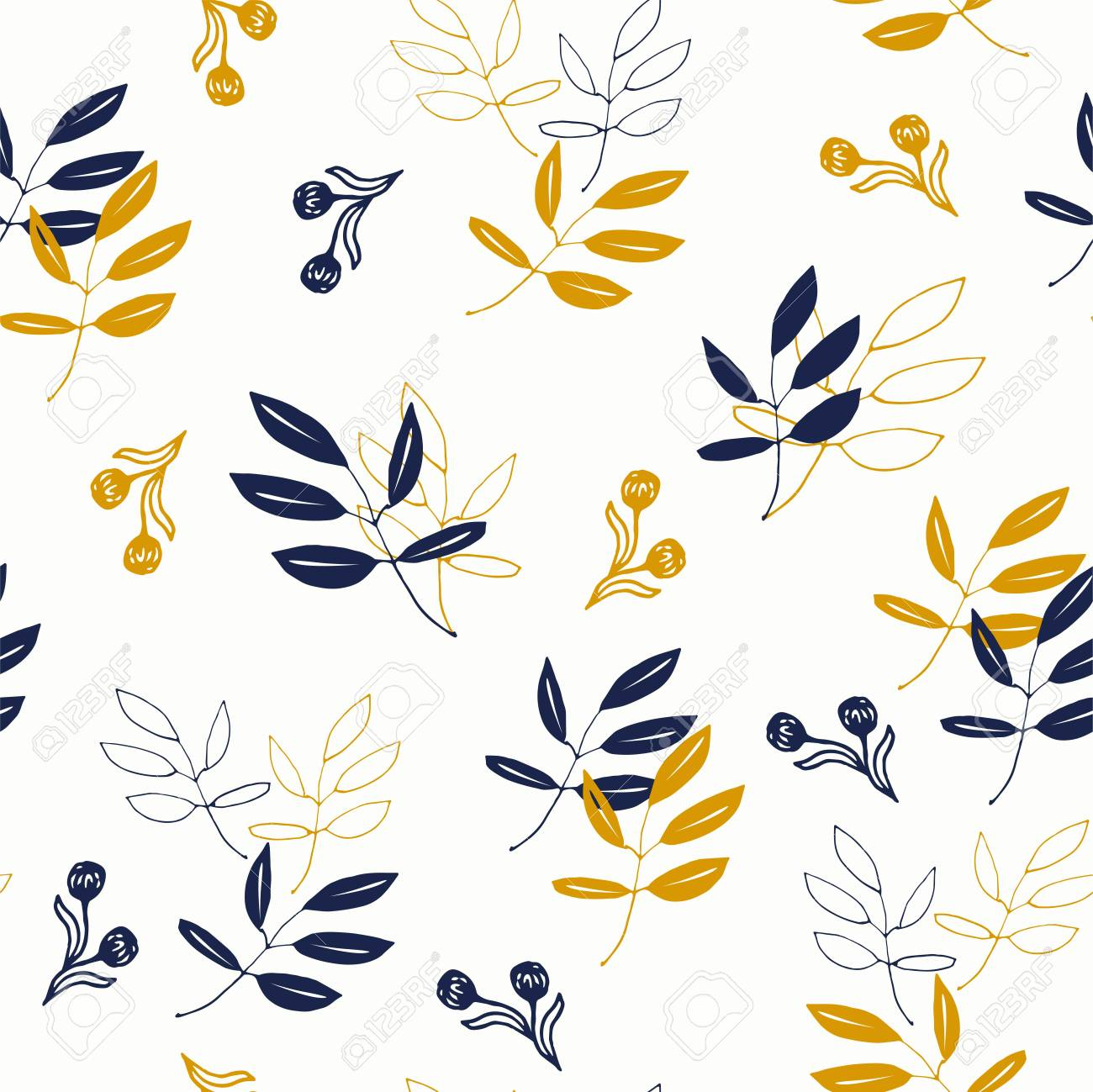 Tumbling Leaves In Navy And Mustard Yellow Royalty Free Cliparts