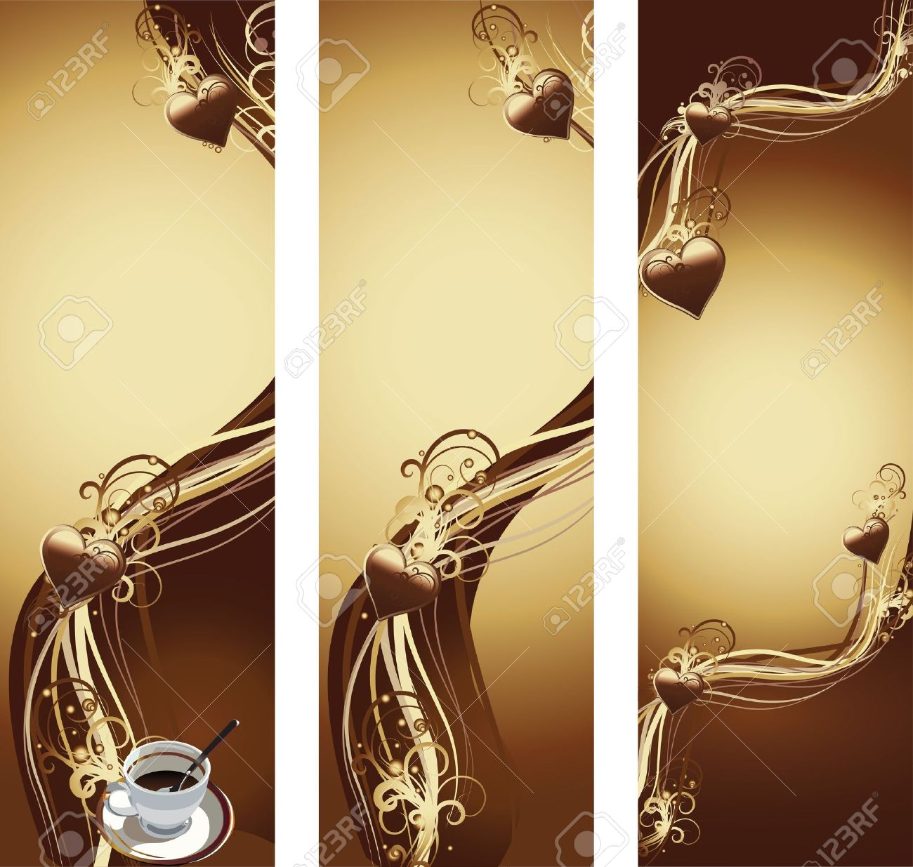 vectol illustration contains the image of banner with cup of coffee and chocolate texture with hearts Stock Vector - 12085680