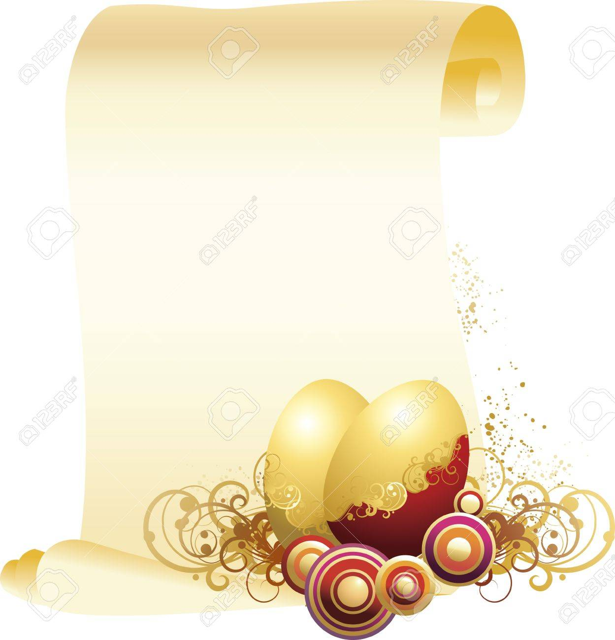 vector illustration contains the image of Easter eggs and a congratulatory letter Stock Vector - 12878689