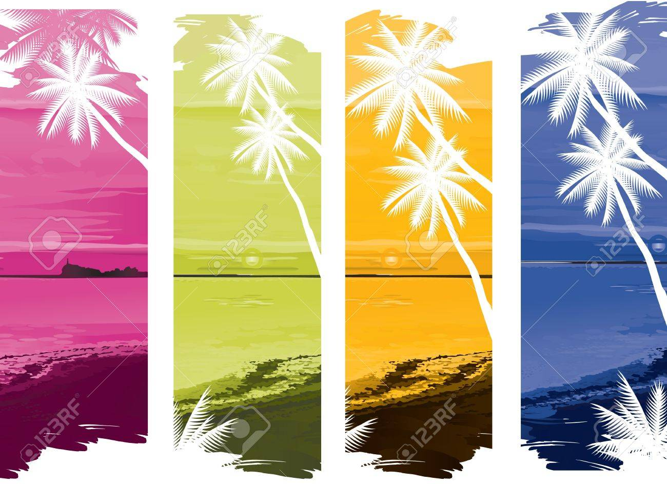 vector illustration contains the image of a set of colorful tropical ocean banners Stock Vector - 12962892