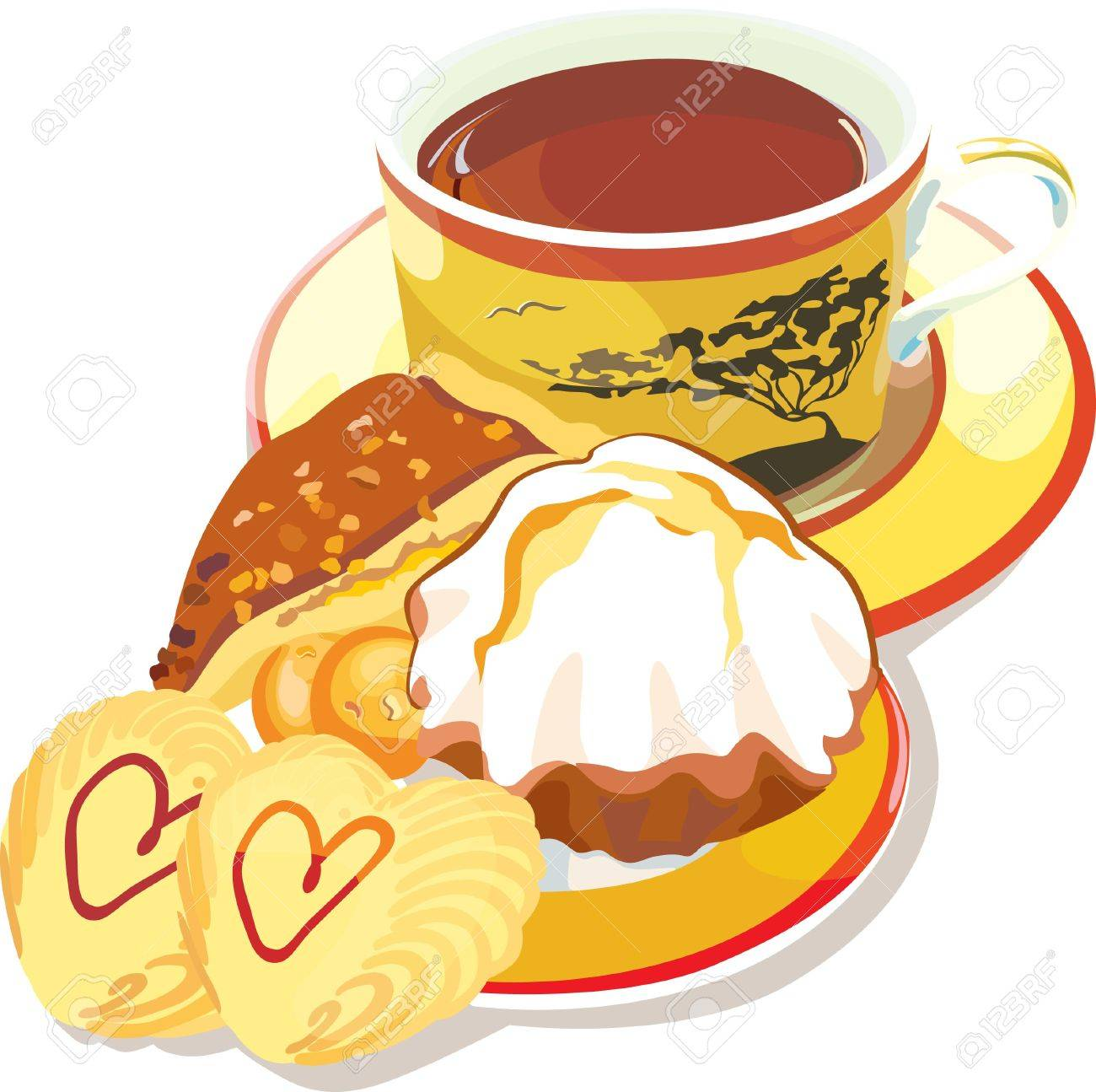 illustration contains the image of  Cup of coffee and cookies Stock Vector - 14491497