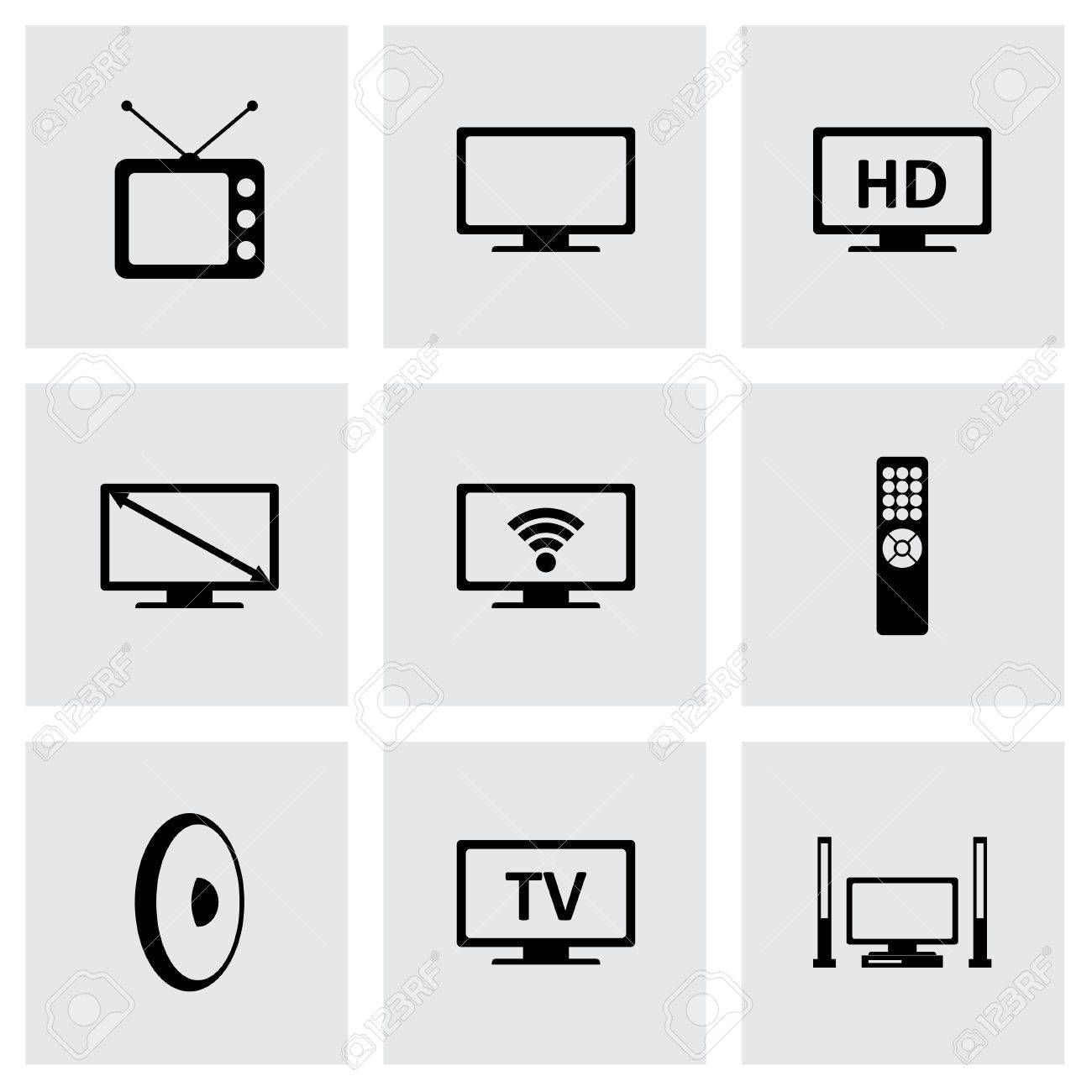 tv icon set on grey background - 38740715