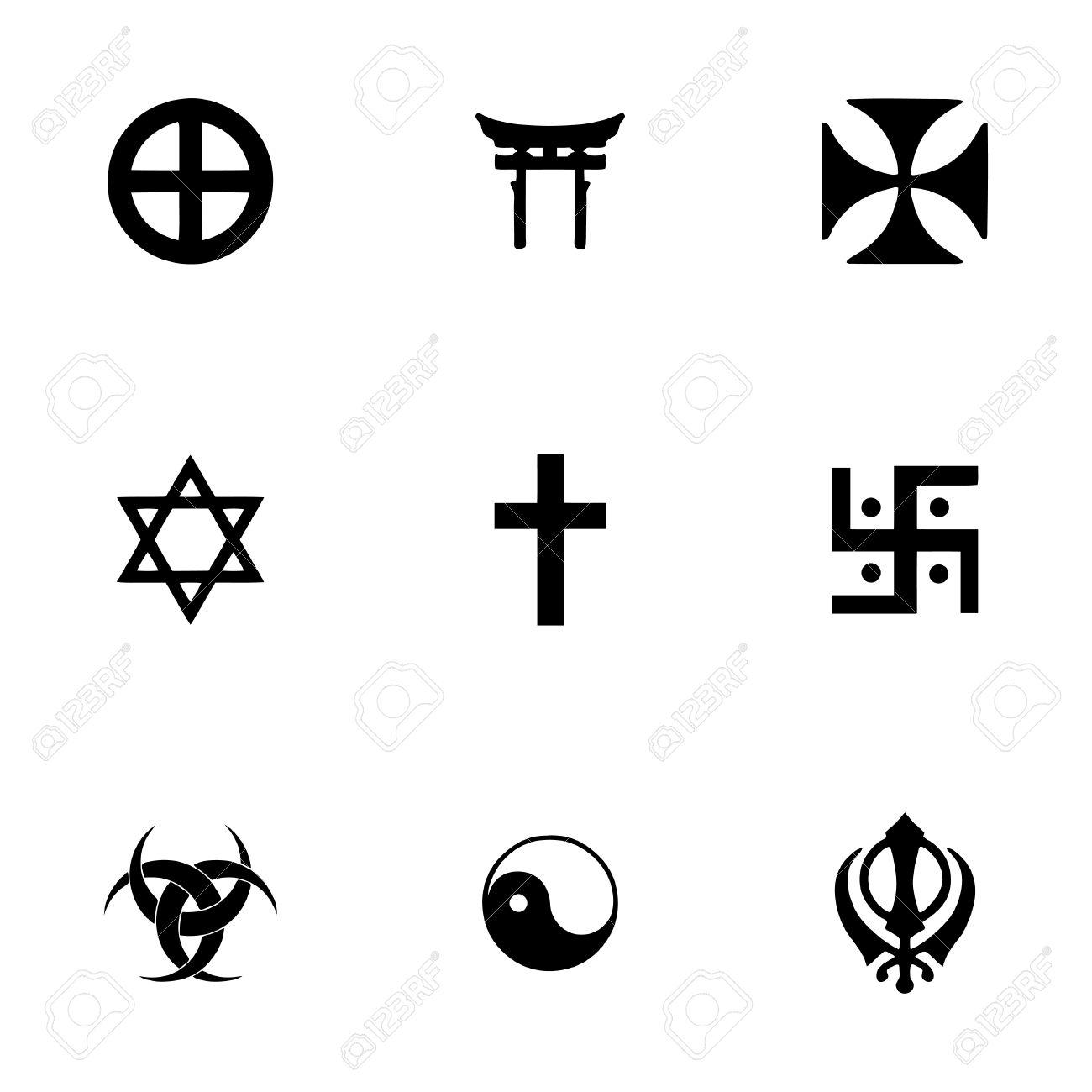 Vector Religious Symbols Icon Set On White Background Royalty Fri