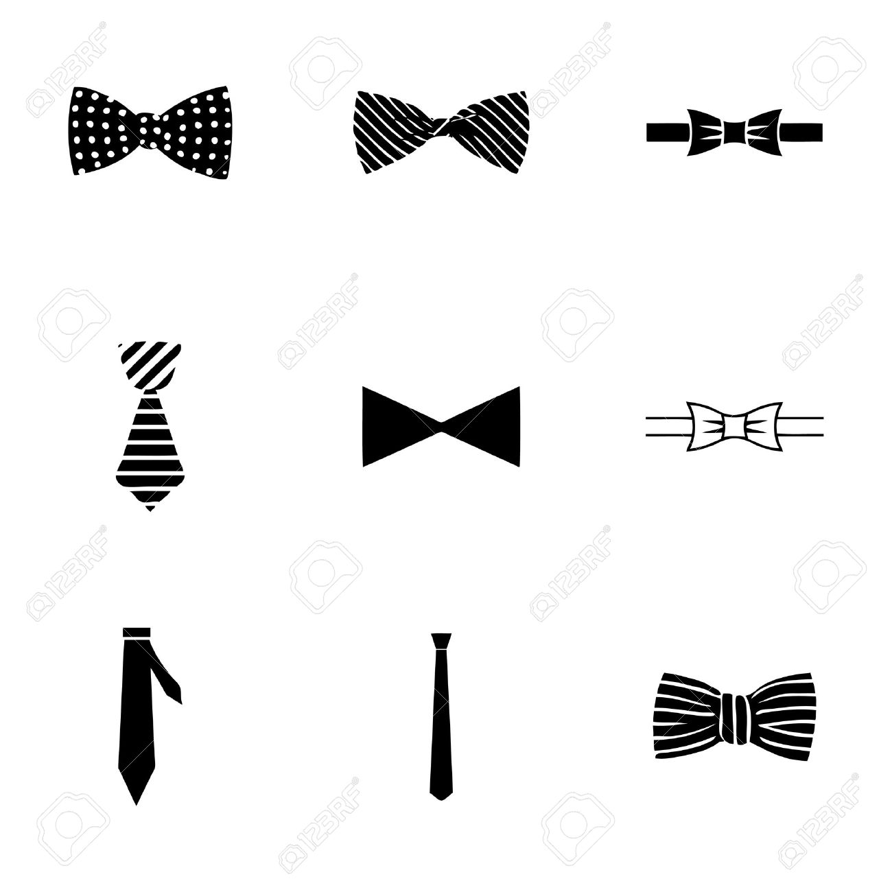 7280ecef34323 Vector bow ties icon set on white background