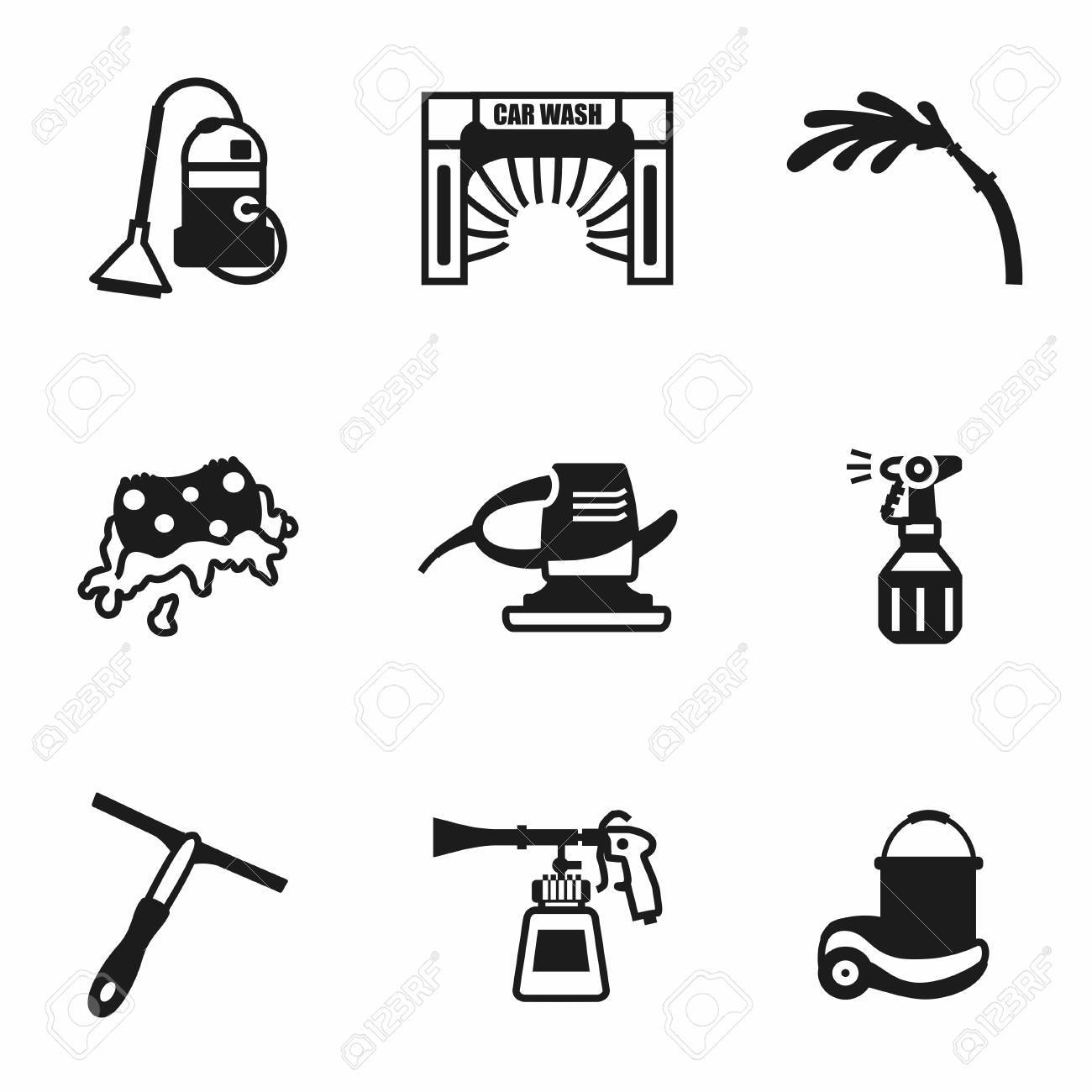 Vector Car Wash Icon Set On White Background Royalty Free Cliparts