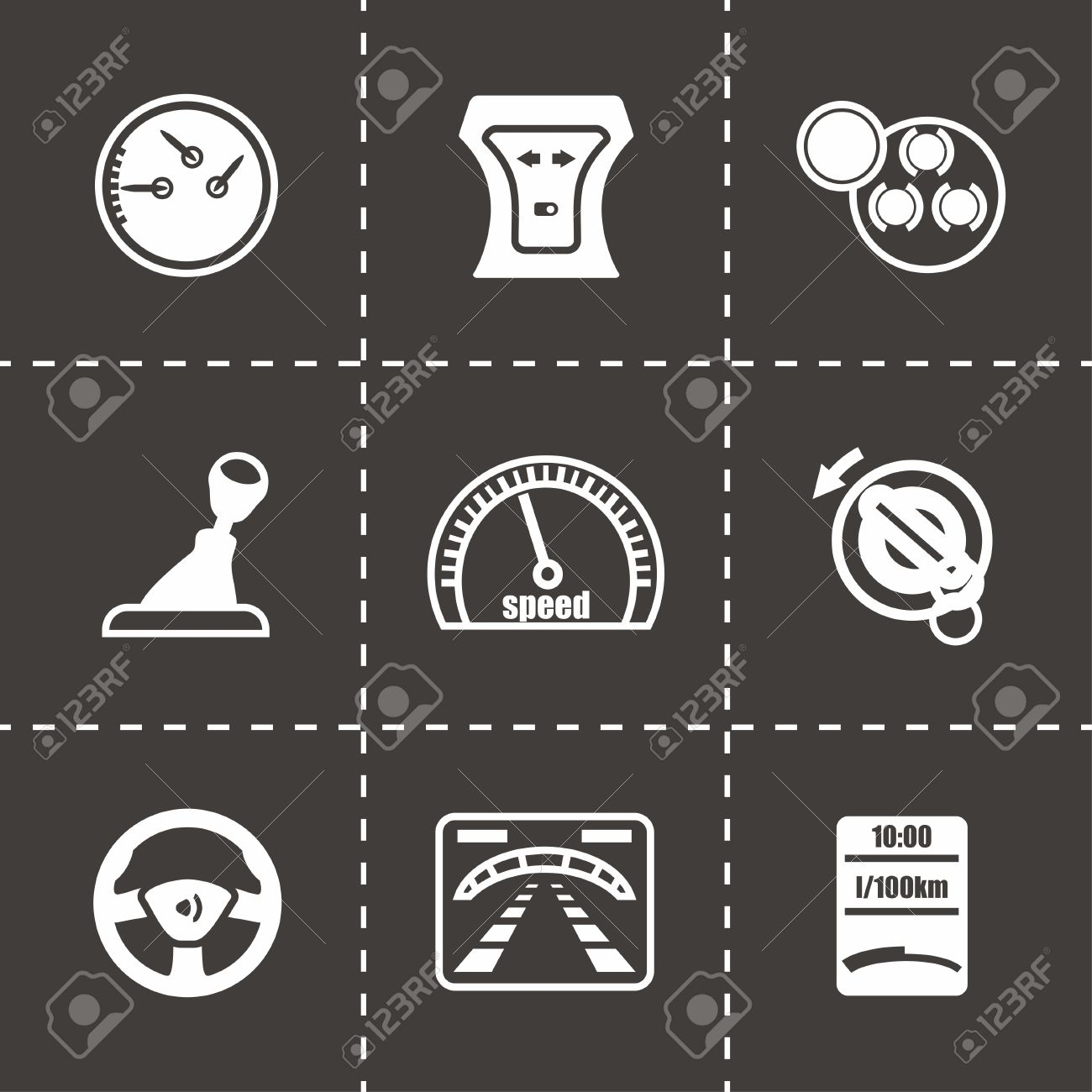 Vector Car Dashboard Icon Set On Black Background Royalty Free - Car image sign of dashboardcar dashboard icons stock images royaltyfree imagesvectors