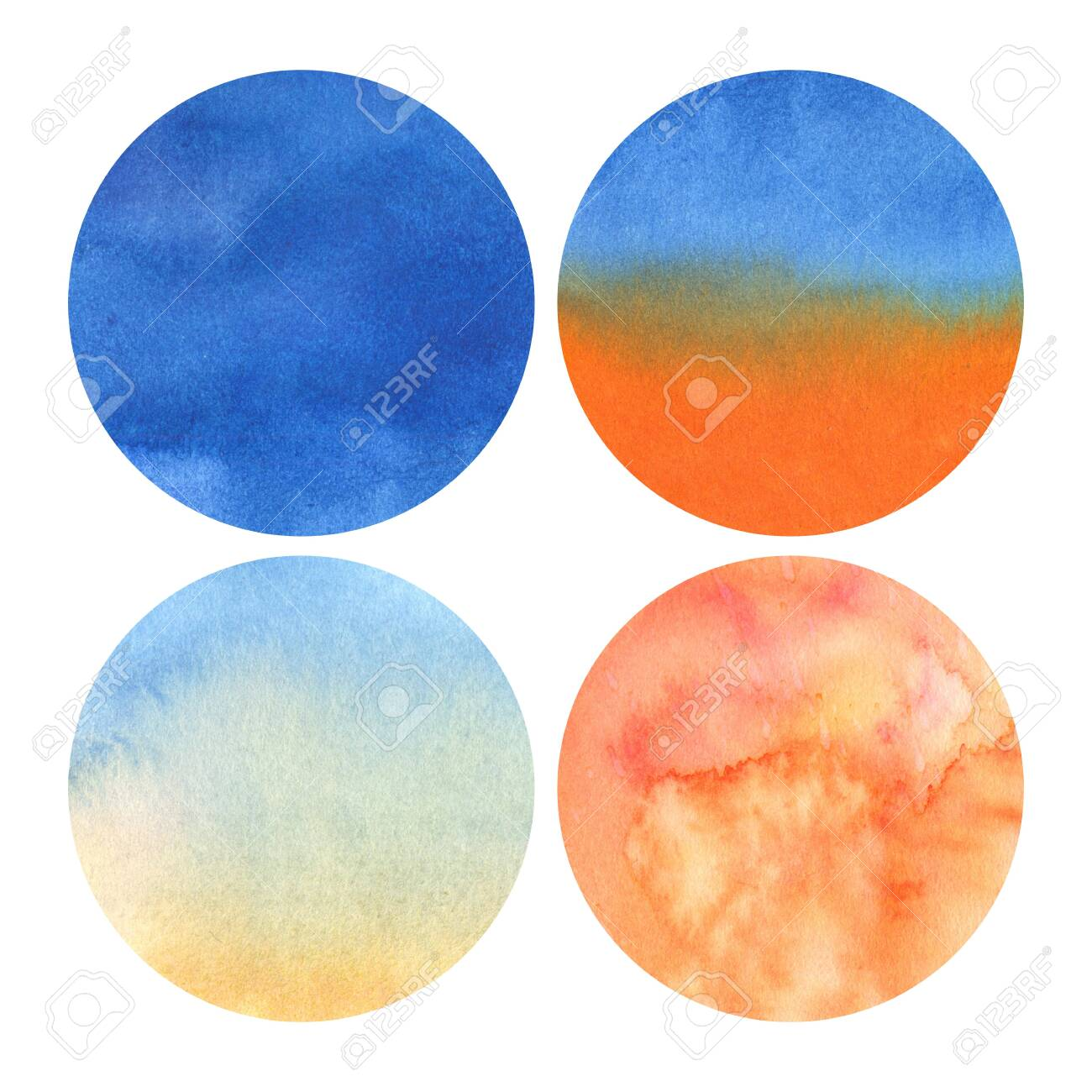 set of 4 watercolor circles with shades from deep blue to light orange - 135852961