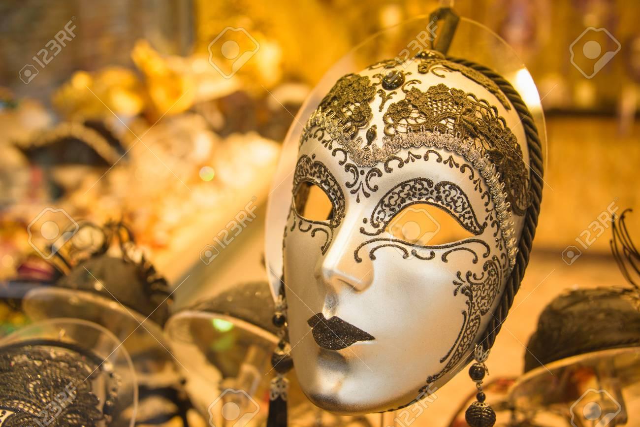 venice mask close up venice carnival masks shop stock photo