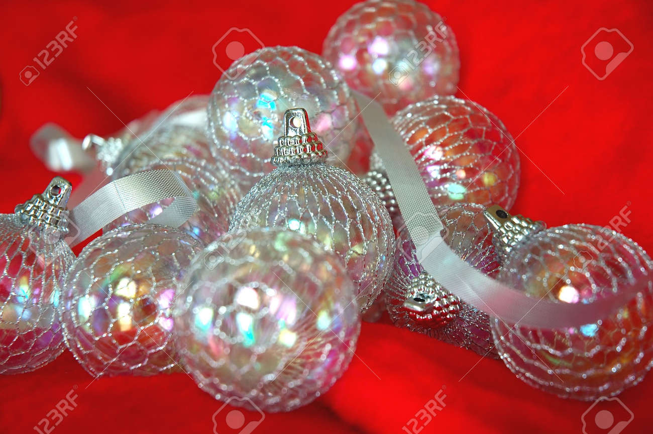 Christmas Ornaments - Irridescent Balls And Silver Ribbon On ...