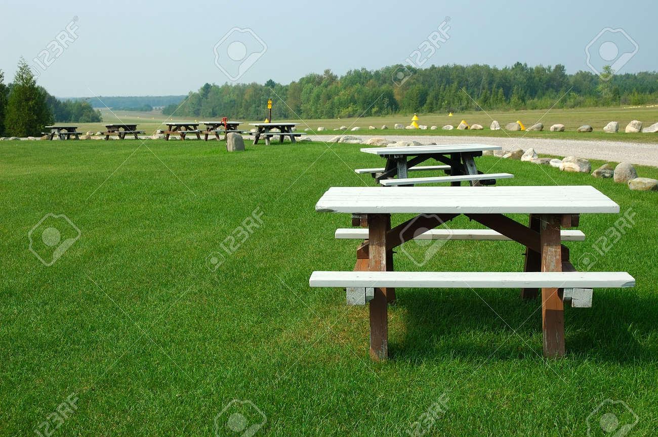 Picnic Tables Picnic Grove In The Country In Michigan USA Stock - Picnic table michigan